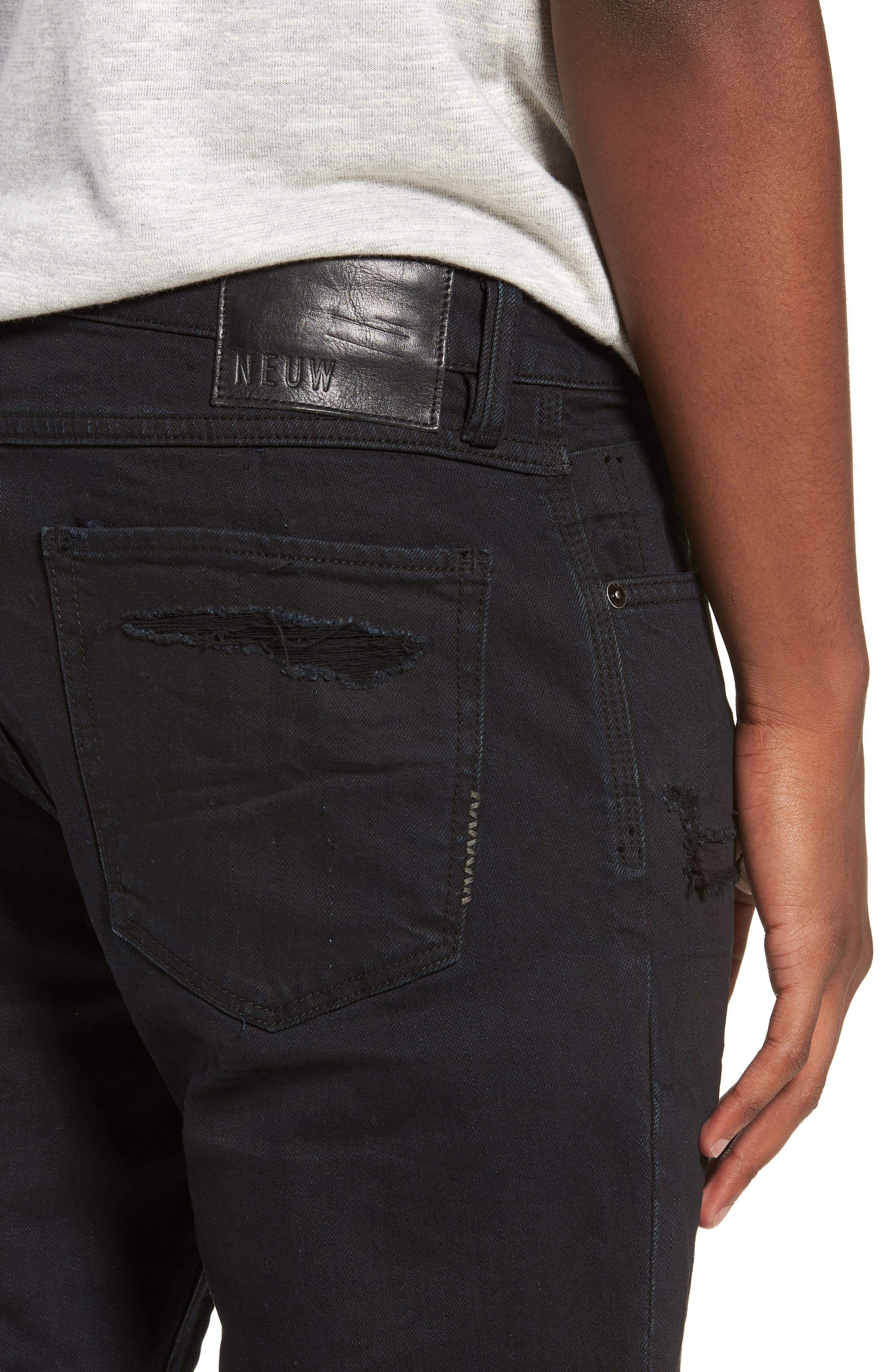 Lou Distressed Skinny Fit Jeans,                             Alternate thumbnail 4, color,                             COALITION