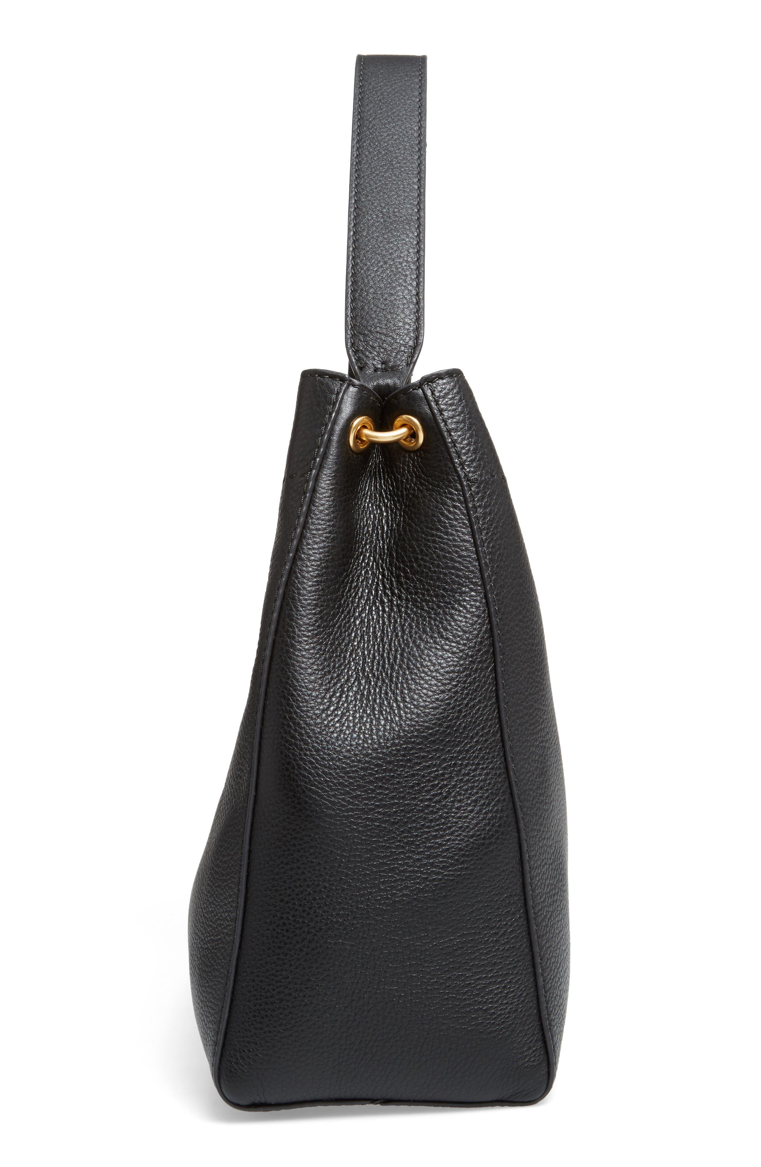 McGraw Leather Hobo,                             Alternate thumbnail 5, color,                             BLACK