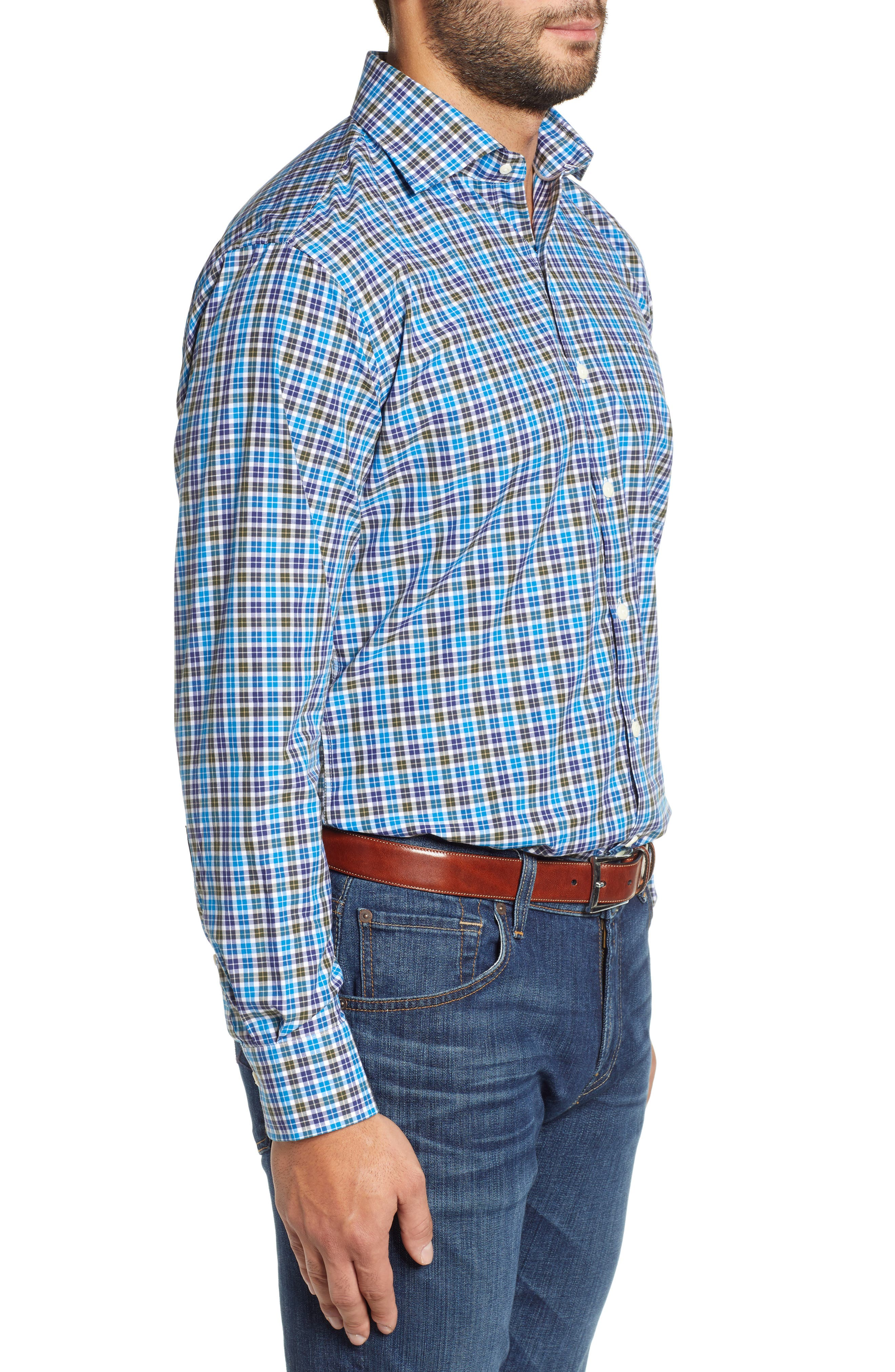 Crown Finish Salthill Check Regular Fit Sport Shirt,                             Alternate thumbnail 4, color,                             BLUE