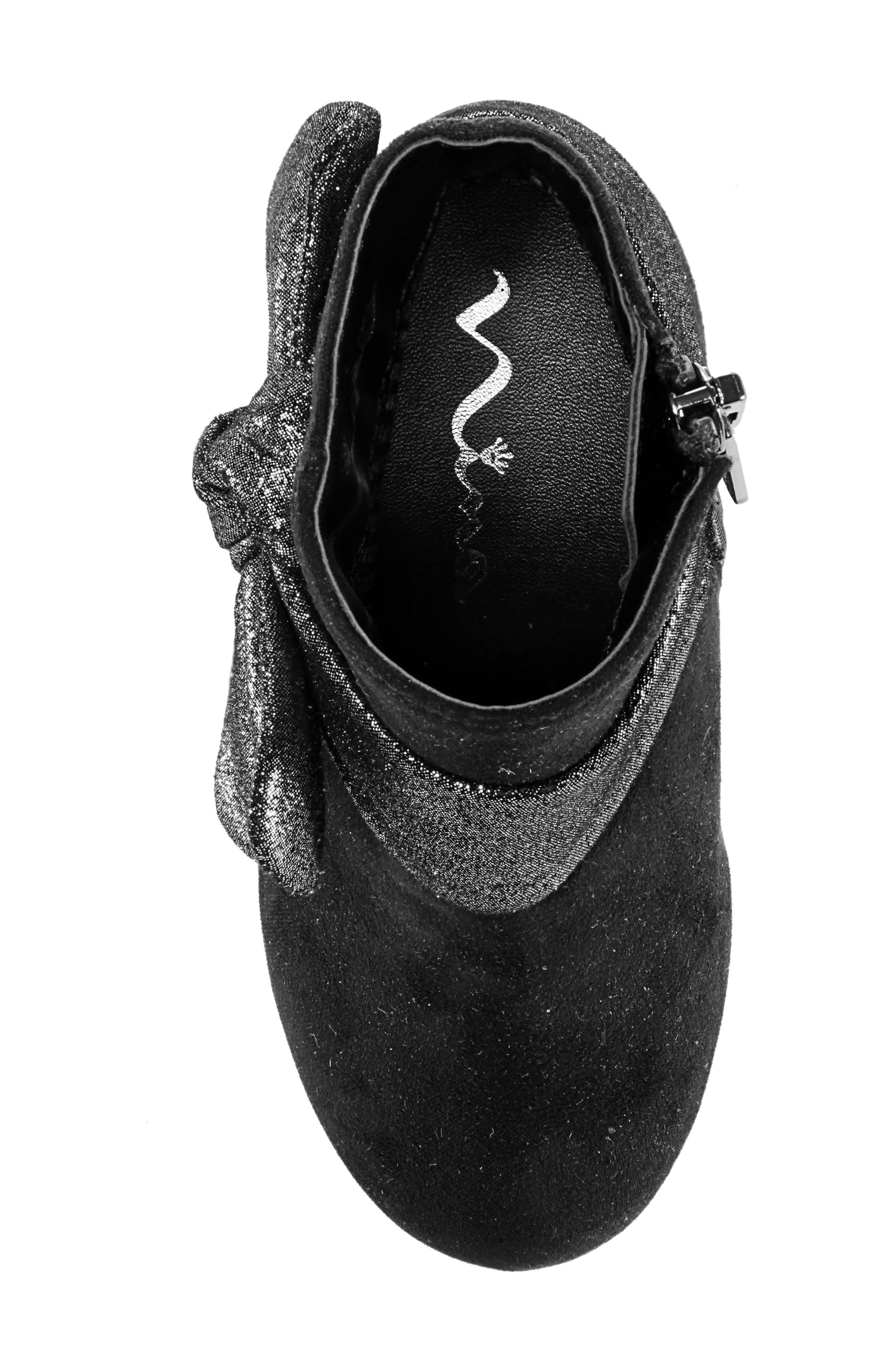 Evelin Block Heel Bootie,                             Alternate thumbnail 5, color,                             BLACK MICRO SUEDE