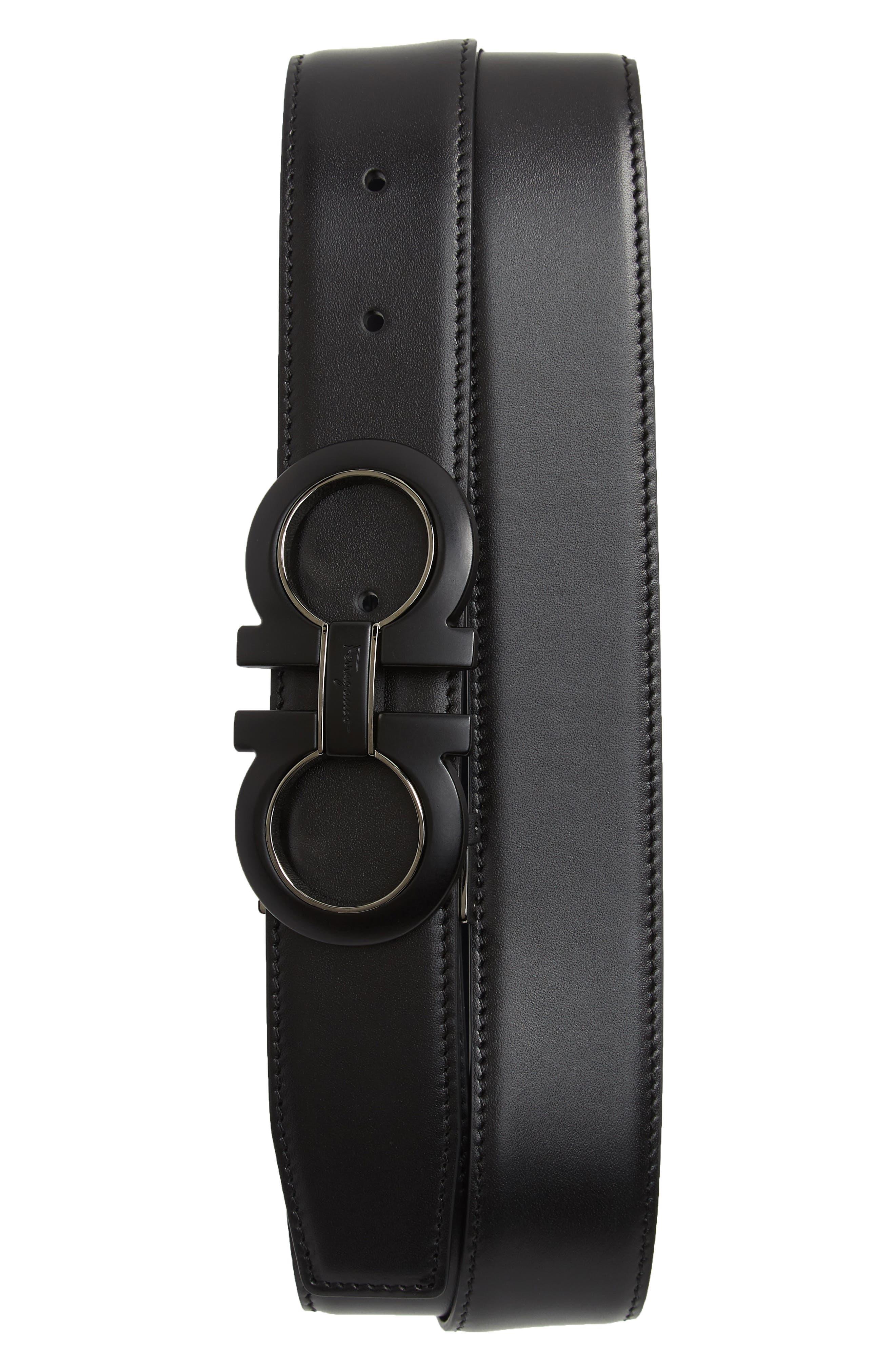 Reversible Leather Belt,                             Main thumbnail 1, color,                             NERO / BLUE MARINE