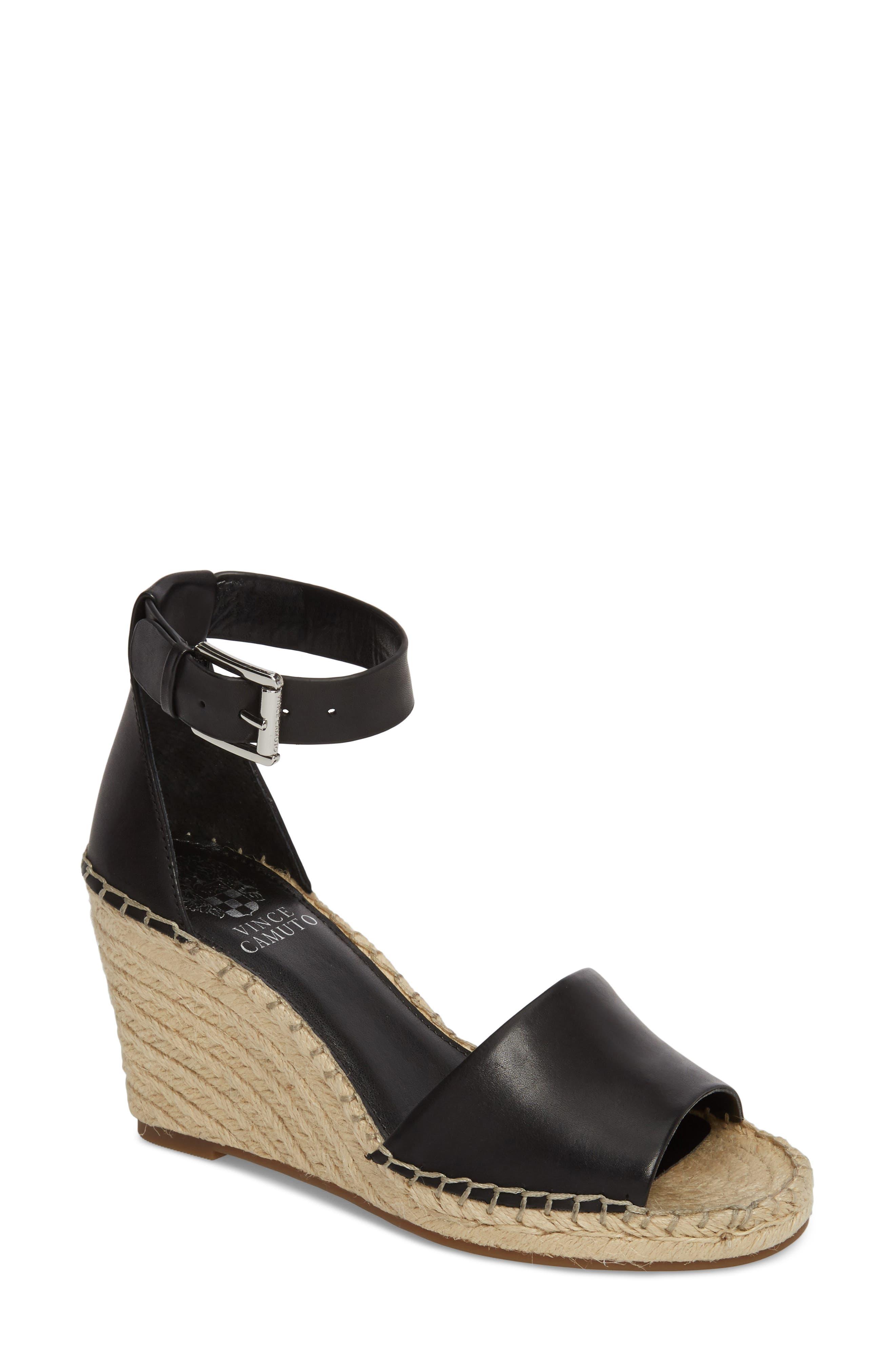 Leera Wedge Sandal,                         Main,                         color, BLACK