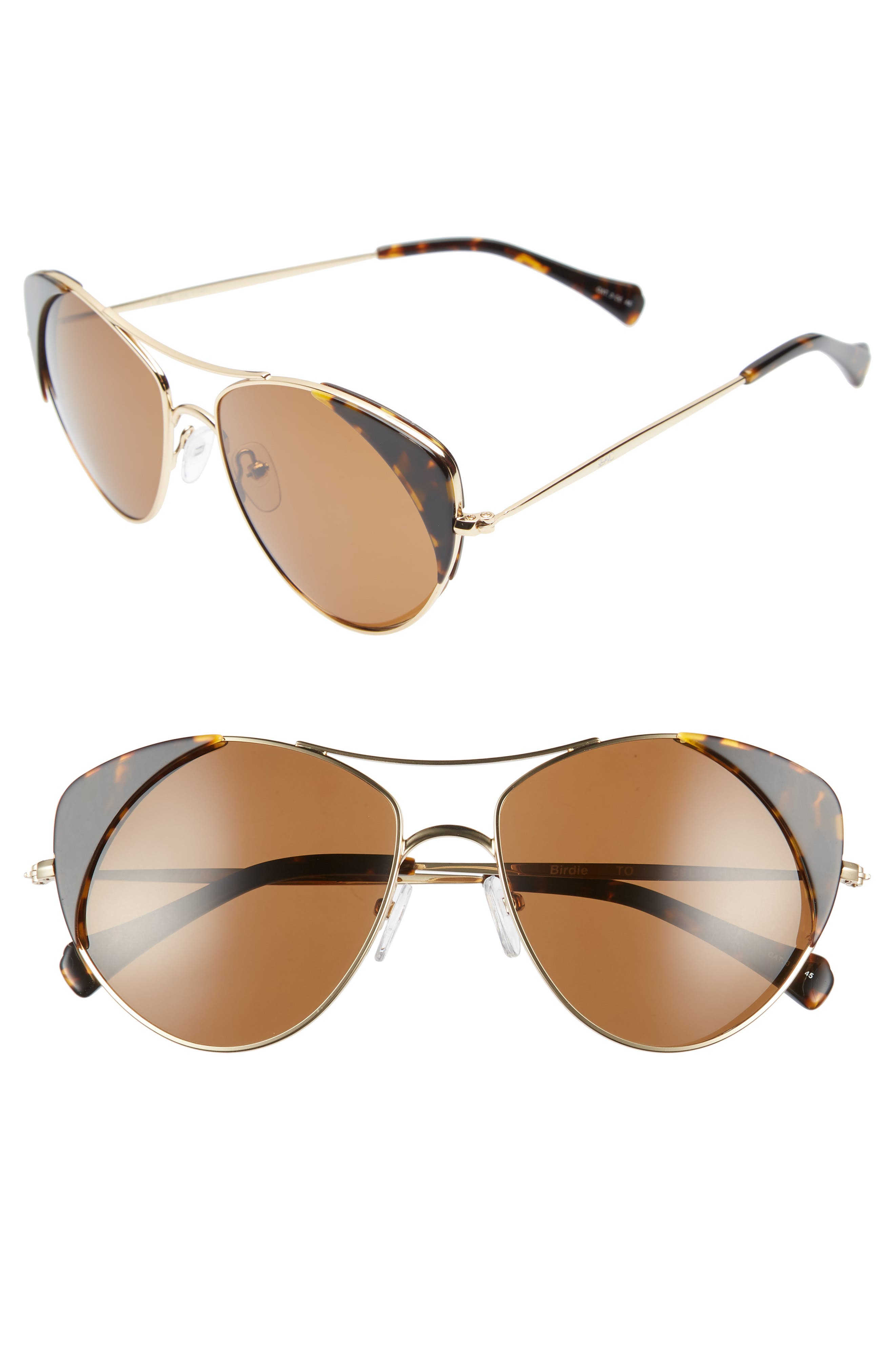 Birdie 59mm Polarized Aviator Sunglasses,                         Main,                         color, TORTOISE POLAR/ BROWN