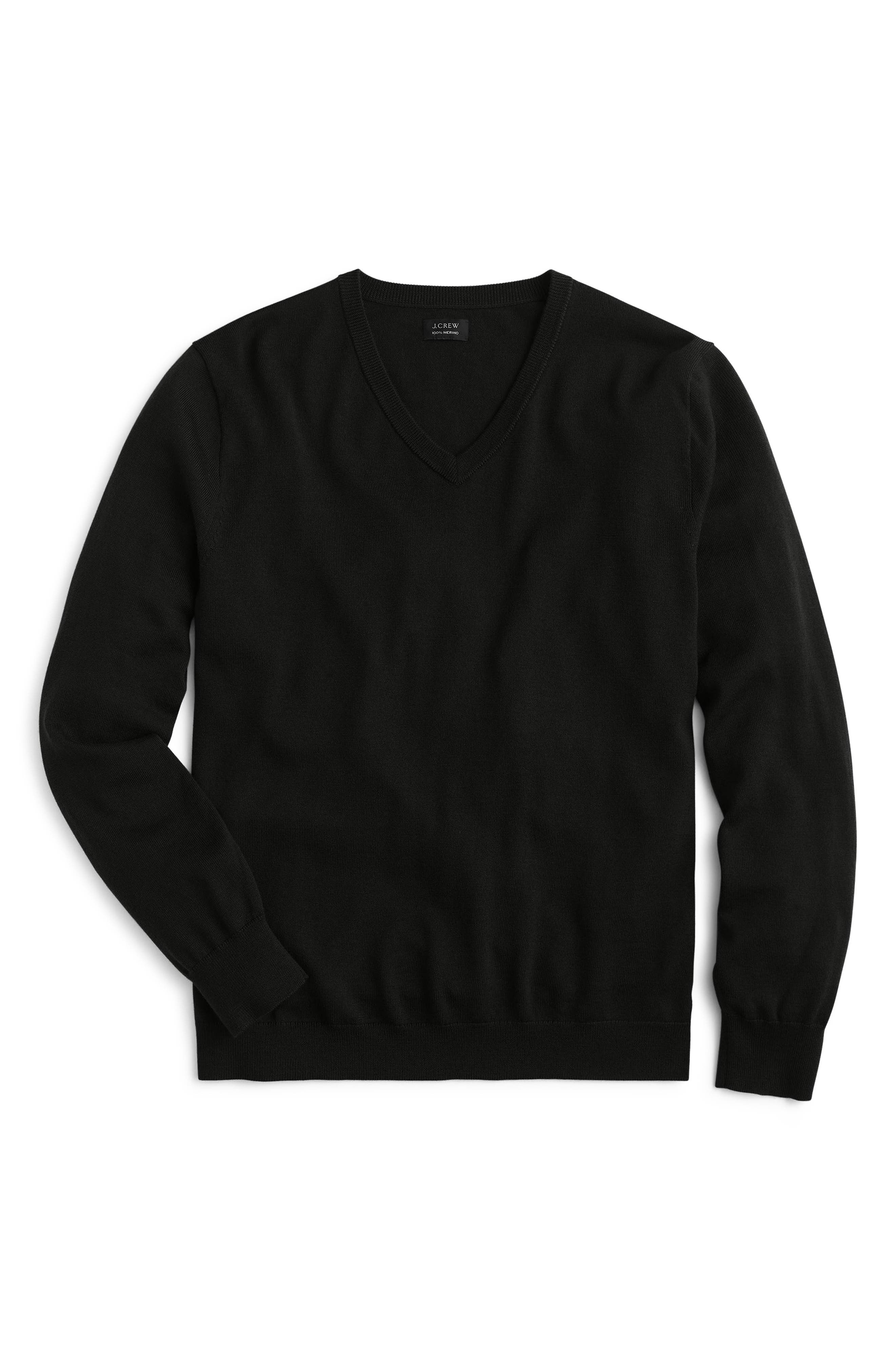 V-Neck Merino Wool Sweater,                             Alternate thumbnail 4, color,                             001