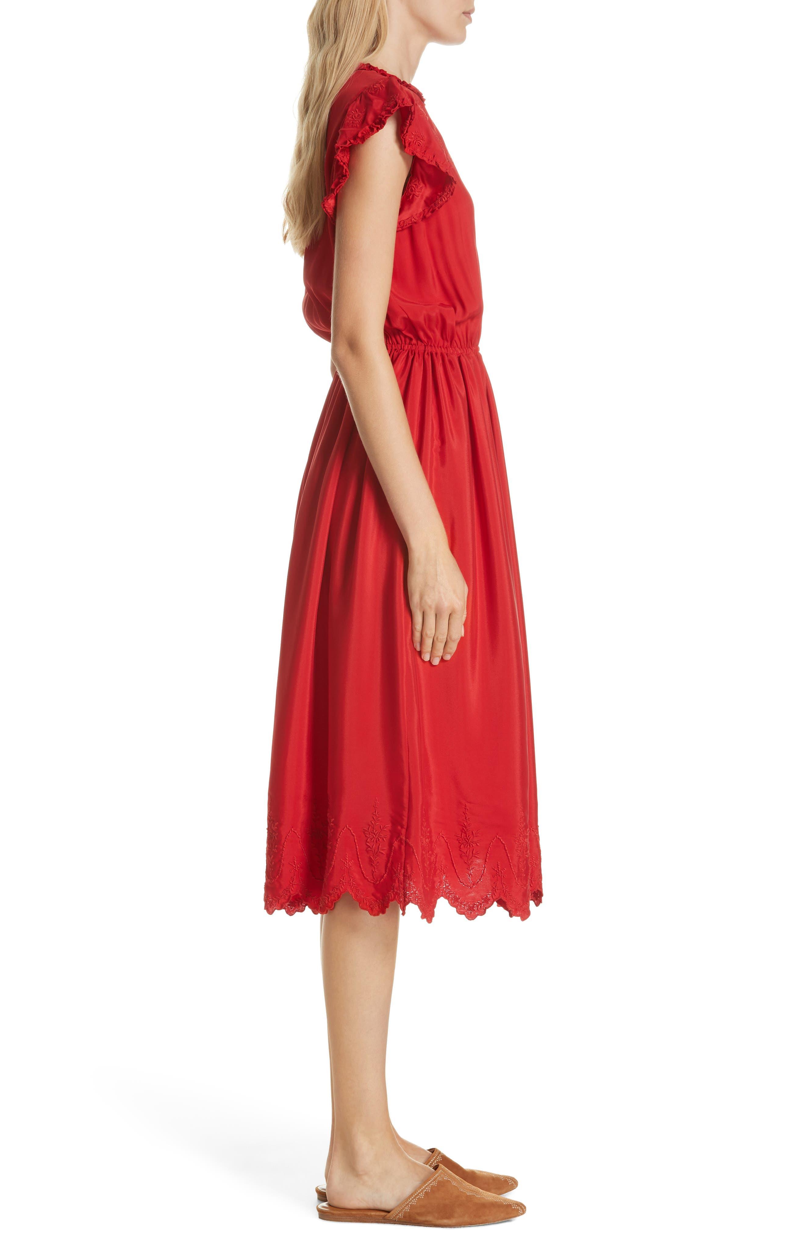 Moonlight Embroidered Silk Dress,                             Alternate thumbnail 3, color,                             VALENTINE