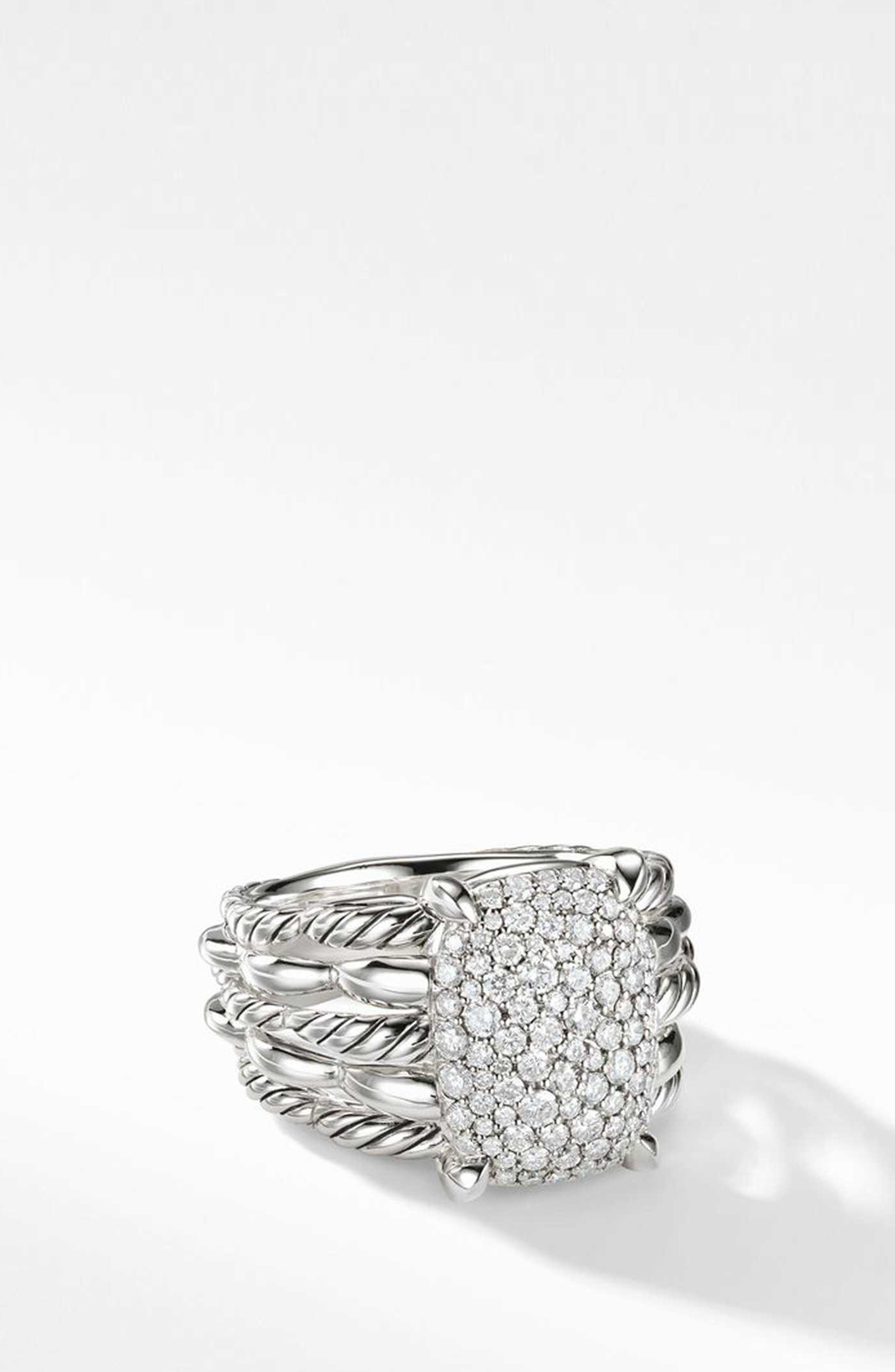 Tides Statement Ring with Pavé Plate,                             Main thumbnail 1, color,                             STERLING SILVER/ DIAMOND
