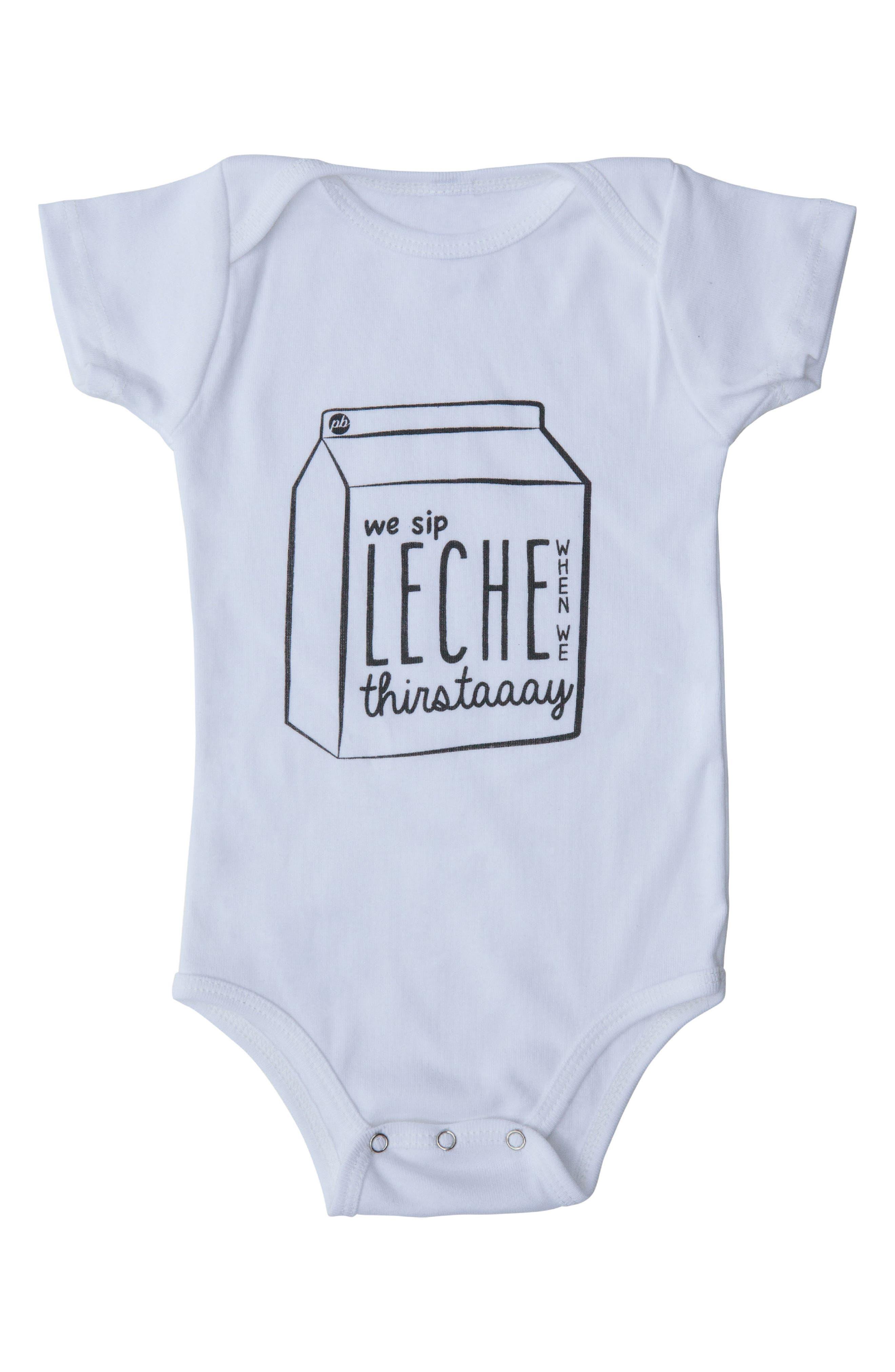 We Sip Leche Bodysuit,                         Main,                         color, WHITE