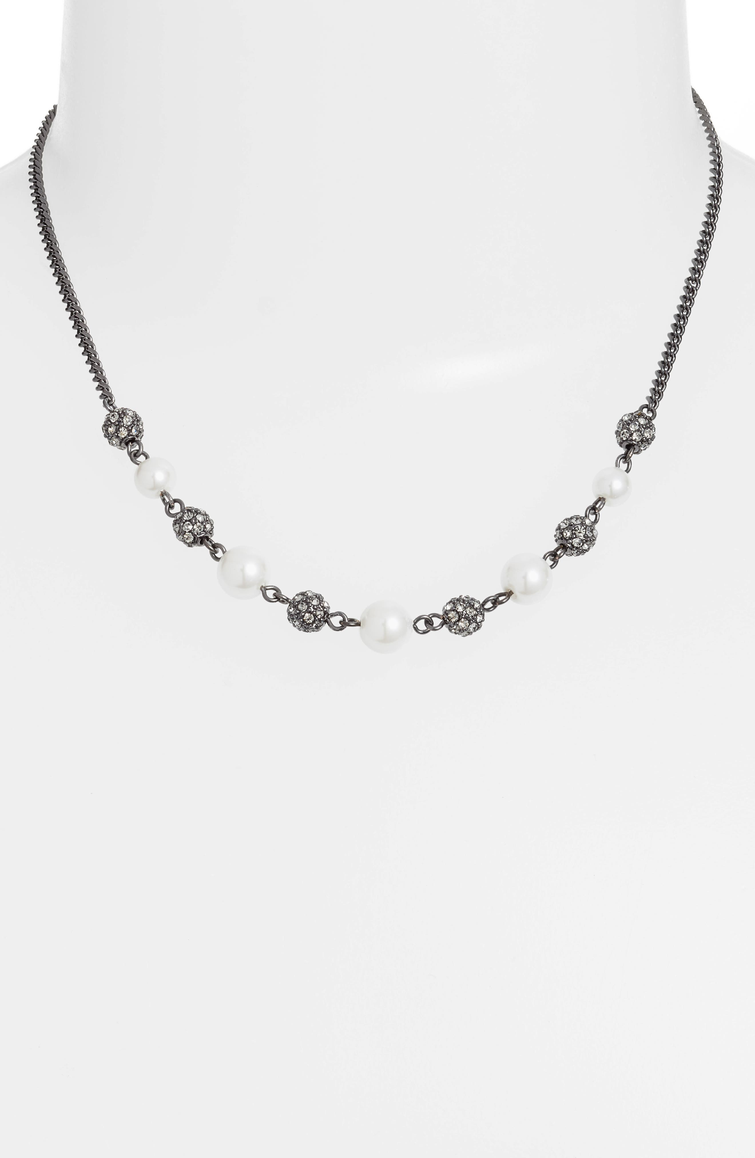 Bead & Crystal Frontal Necklace,                             Alternate thumbnail 2, color,                             WHITE/ HEMATITE
