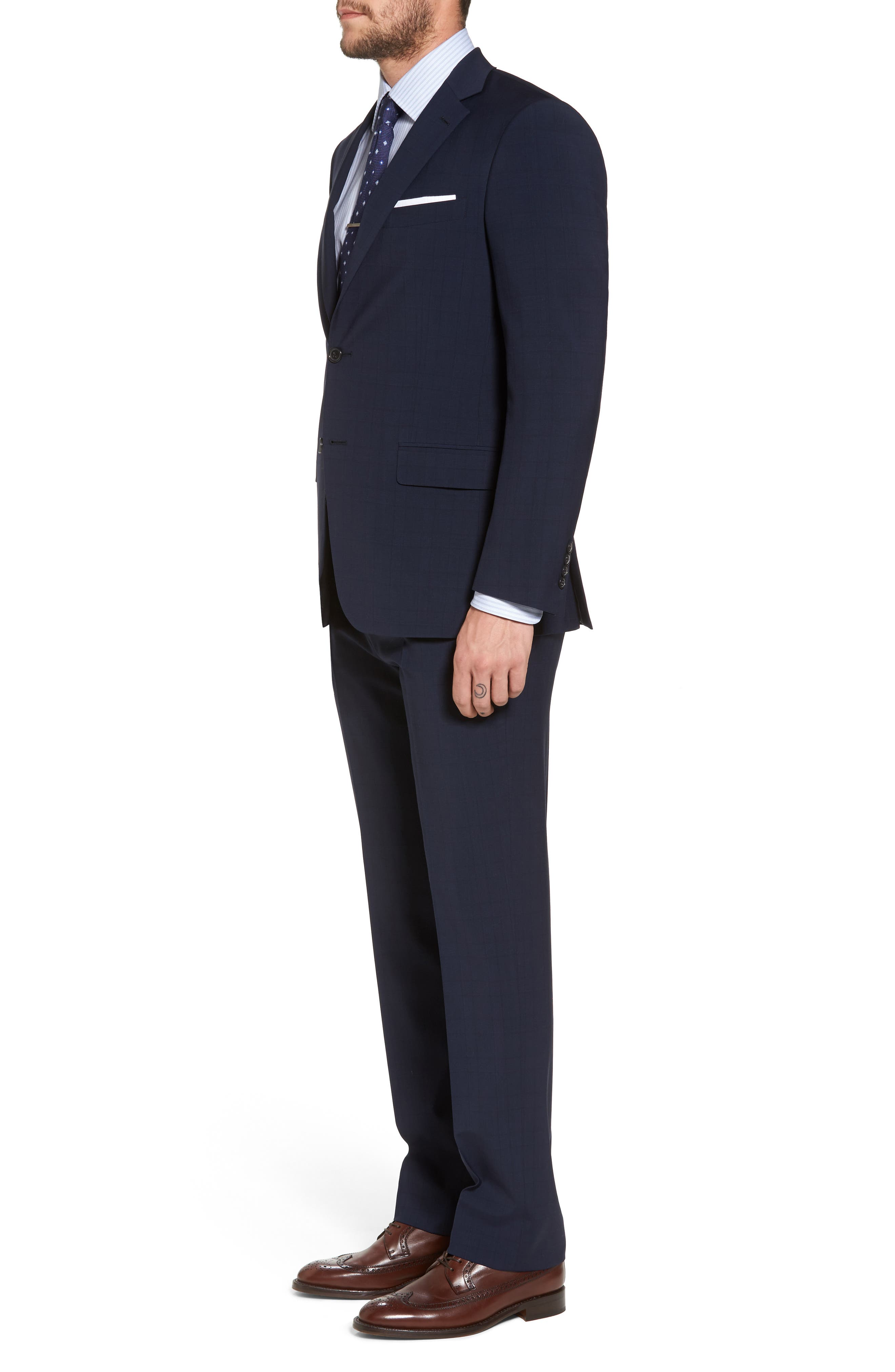 New York Classic Fit Plaid Wool Suit,                             Alternate thumbnail 3, color,                             400