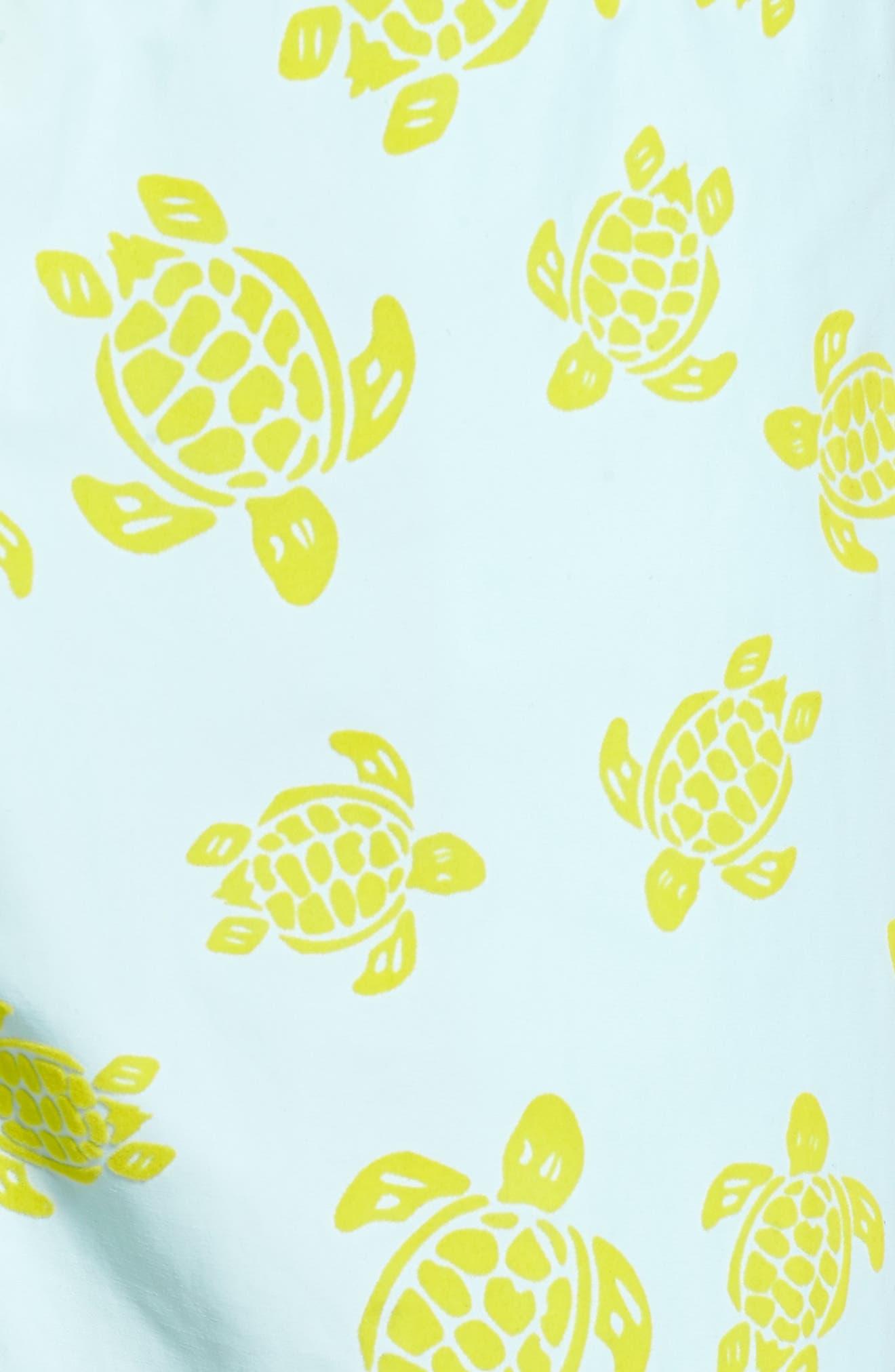 Moorea Flocked Turtles Print Swim Trunks,                             Alternate thumbnail 5, color,                             FROSTED BLUE