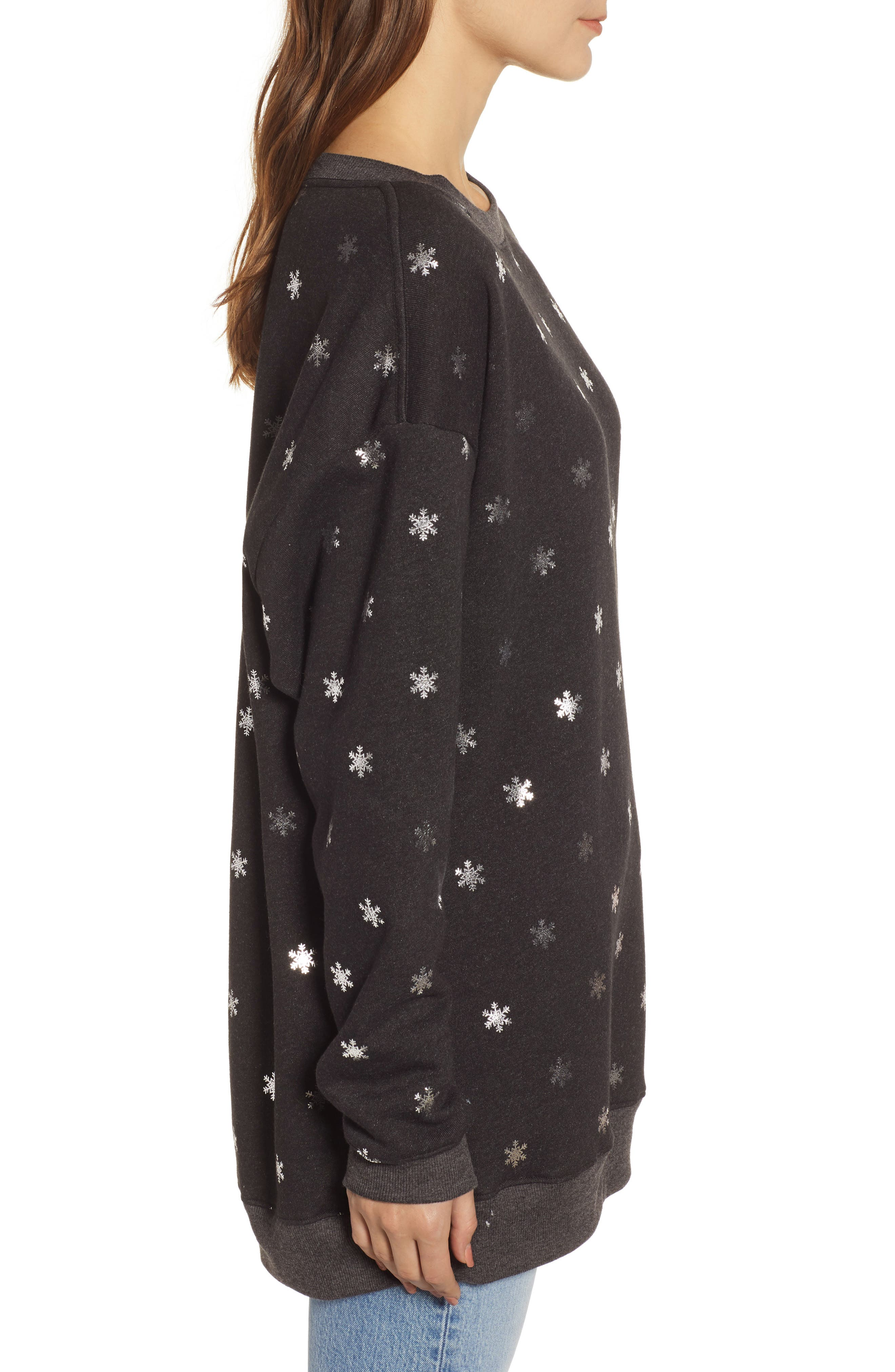WILDFOX,                             Shimmery Snowflakes Road Trip Pullover,                             Alternate thumbnail 3, color,                             002