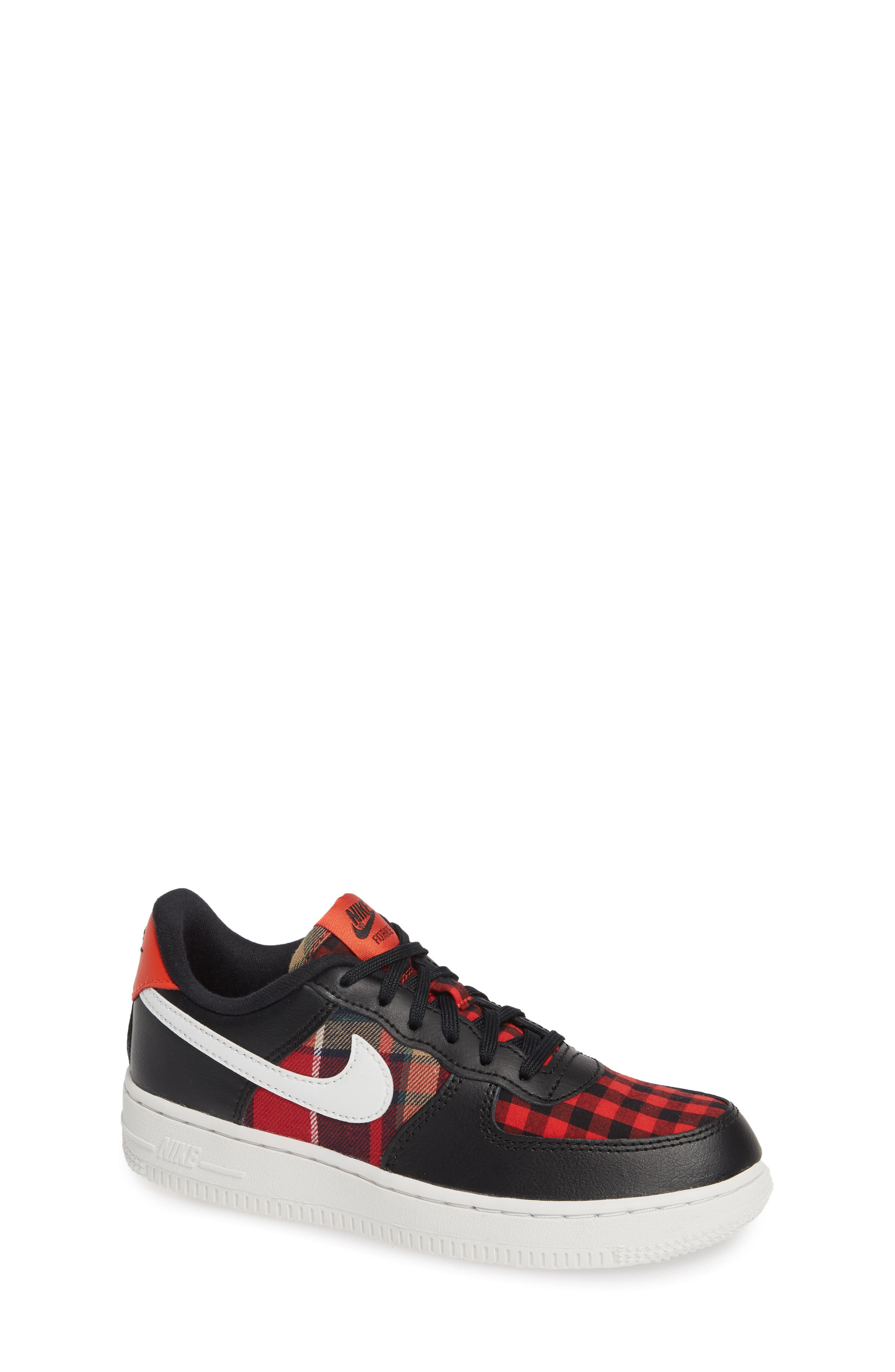 Air Force 1 LV8 Sneaker,                             Main thumbnail 1, color,                             BLACK SUMMIT WHITE RED