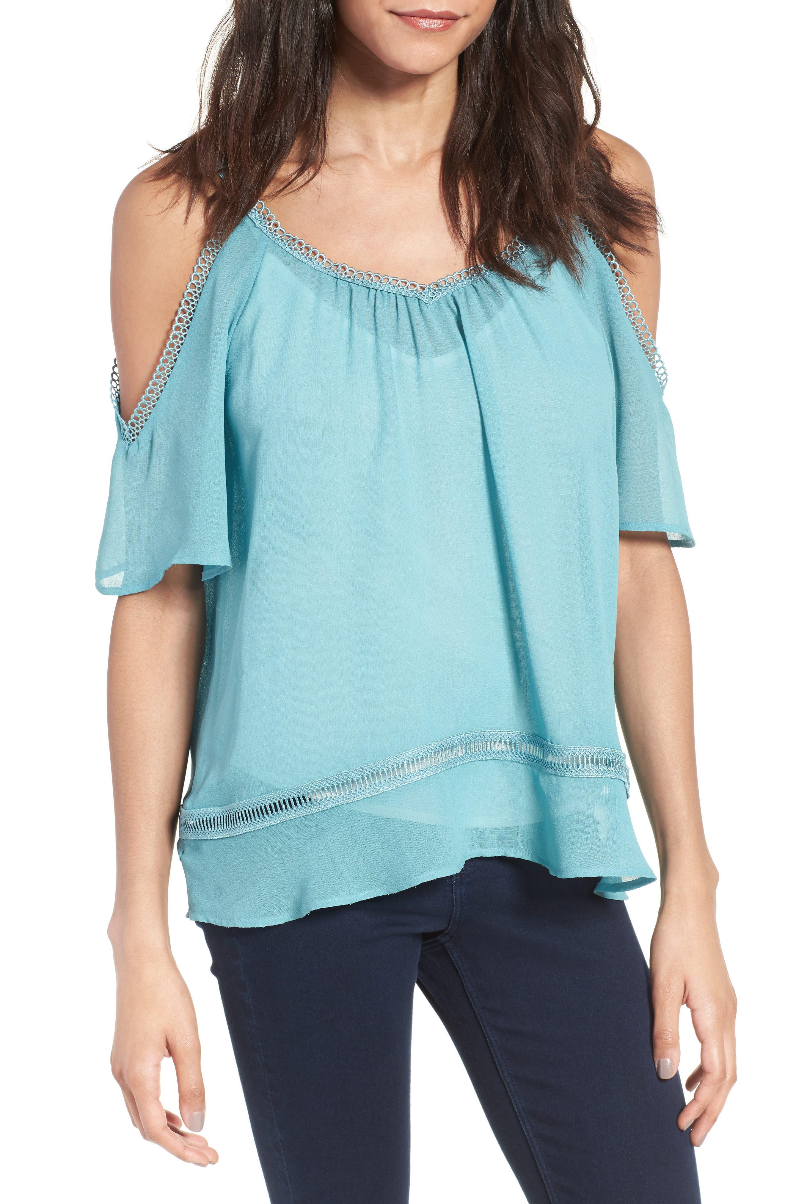 Lace Trim Off the Shoulder Top,                         Main,                         color, 420