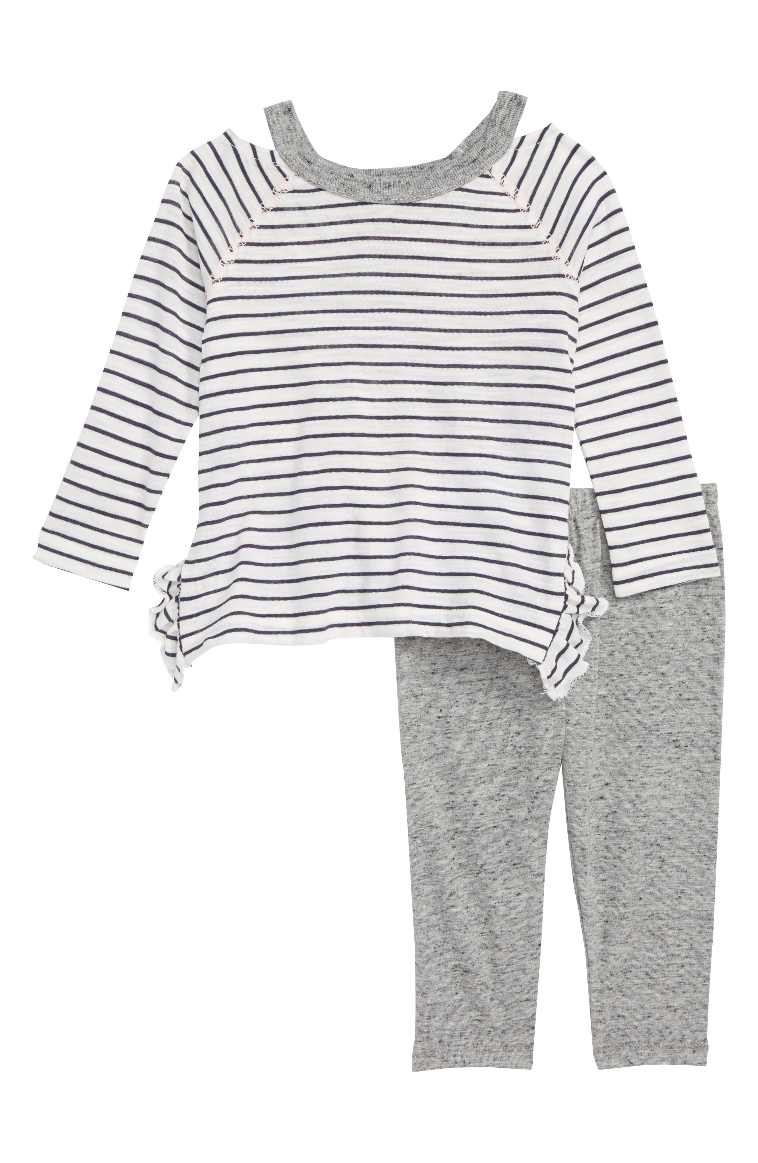 Stripe Tee & Leggings Set,                         Main,                         color, OFF WHITE STRIPE