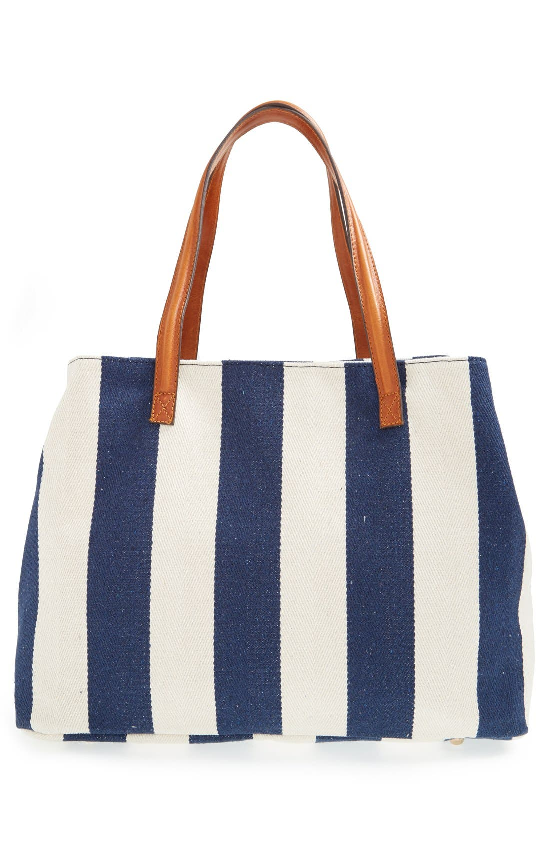 SOLE SOCIETY,                             'Oversize Millie' Stripe Print Tote,                             Alternate thumbnail 10, color,                             NAVY CREAM