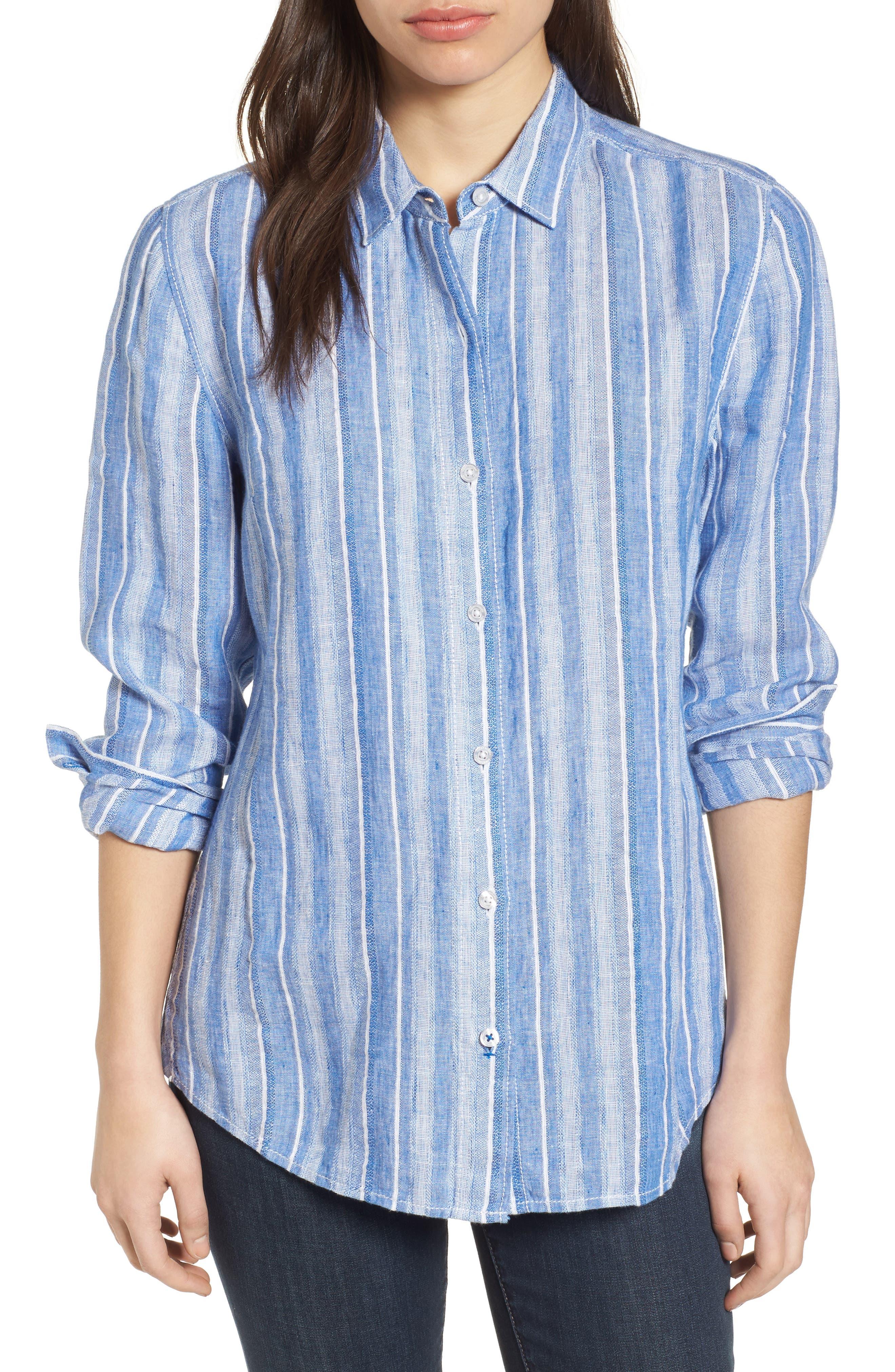Santiago Stripe Linen Blend Shirt,                         Main,                         color, BLUE SEA