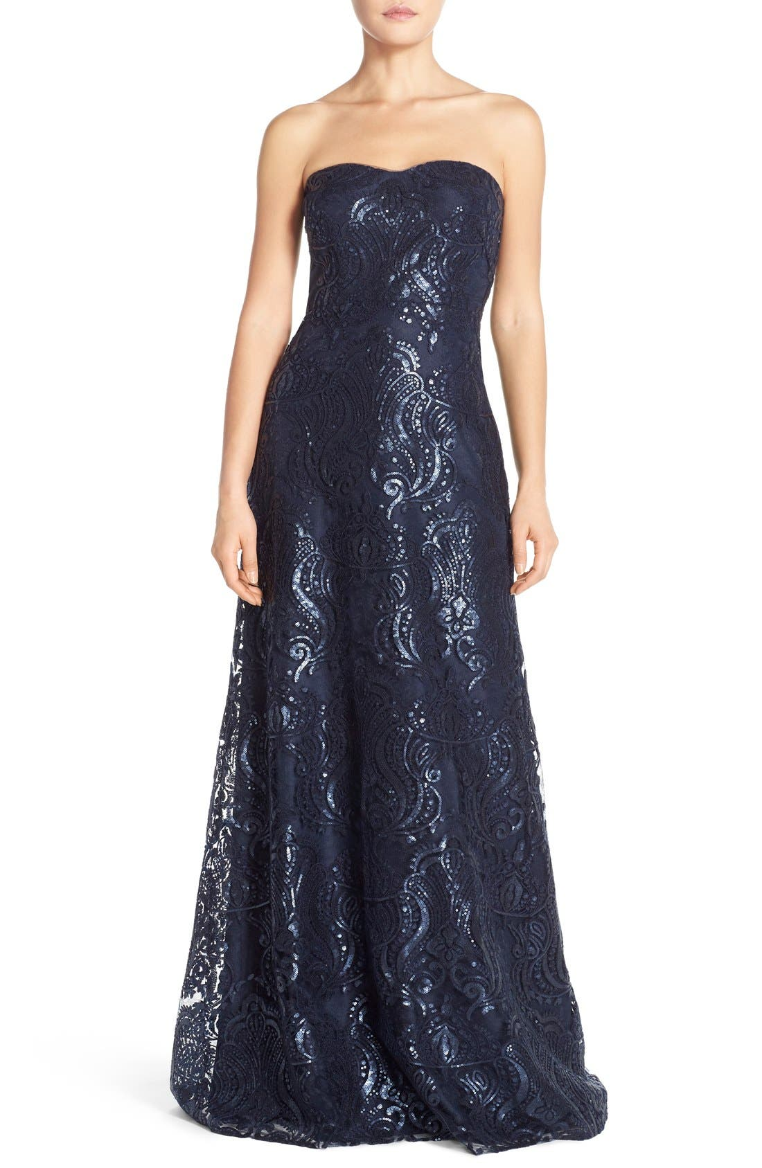 Sadie Sequin Lace Strapless A-Line Gown,                             Main thumbnail 1, color,                             410