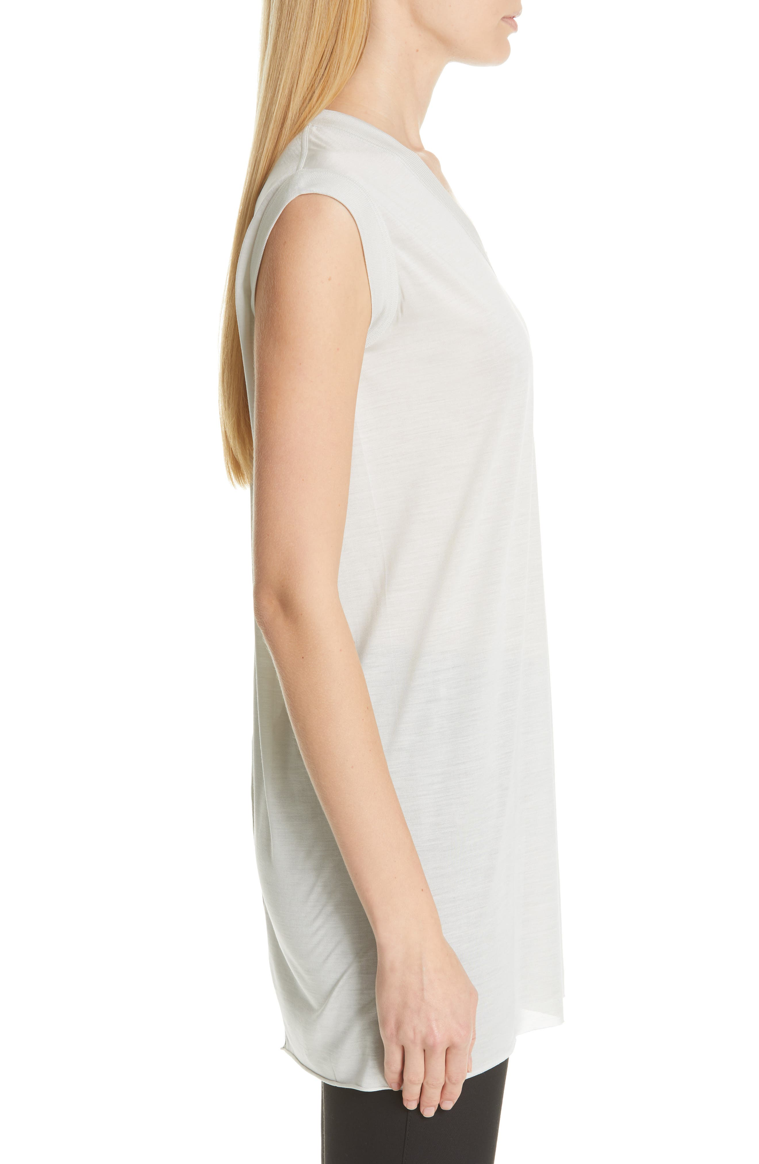 RICK OWENS,                             Silk Jersey Tee,                             Alternate thumbnail 3, color,                             OYSTER
