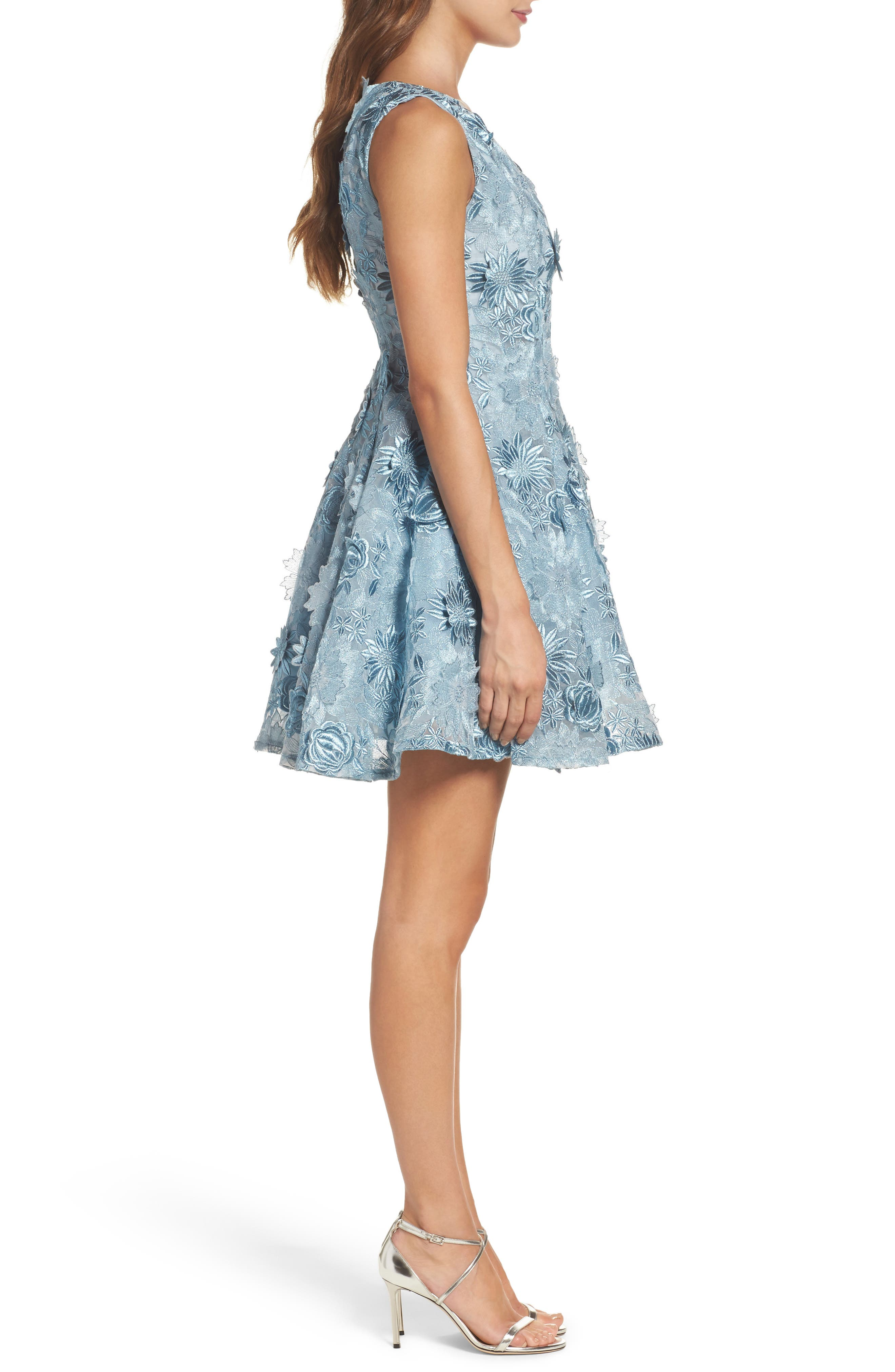 Embroidered Fit & Flare Dress,                             Alternate thumbnail 3, color,                             460