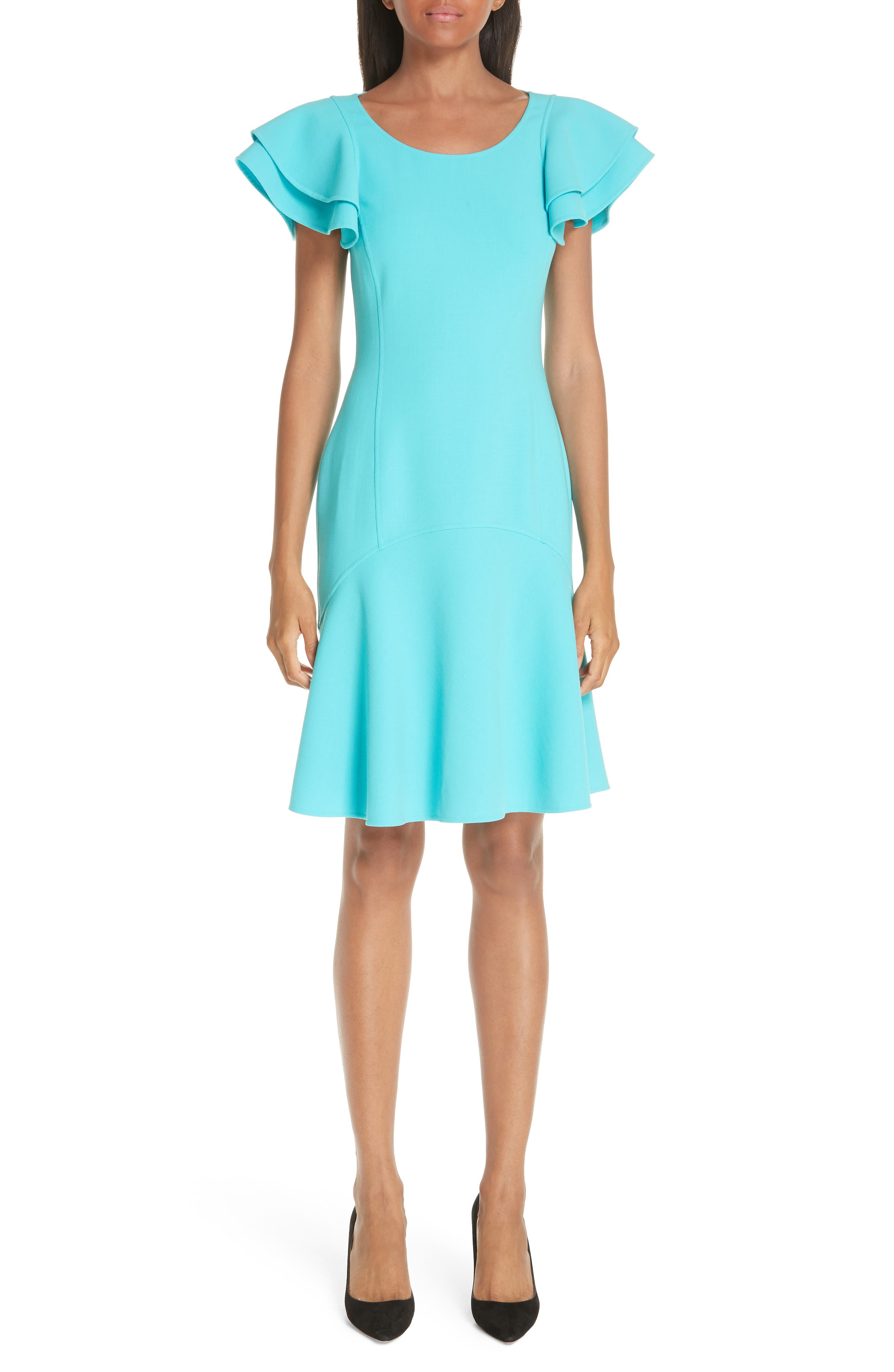 Michael Kors Layered Flutter Sleeve Stretch Wool Crepe Dress, Blue