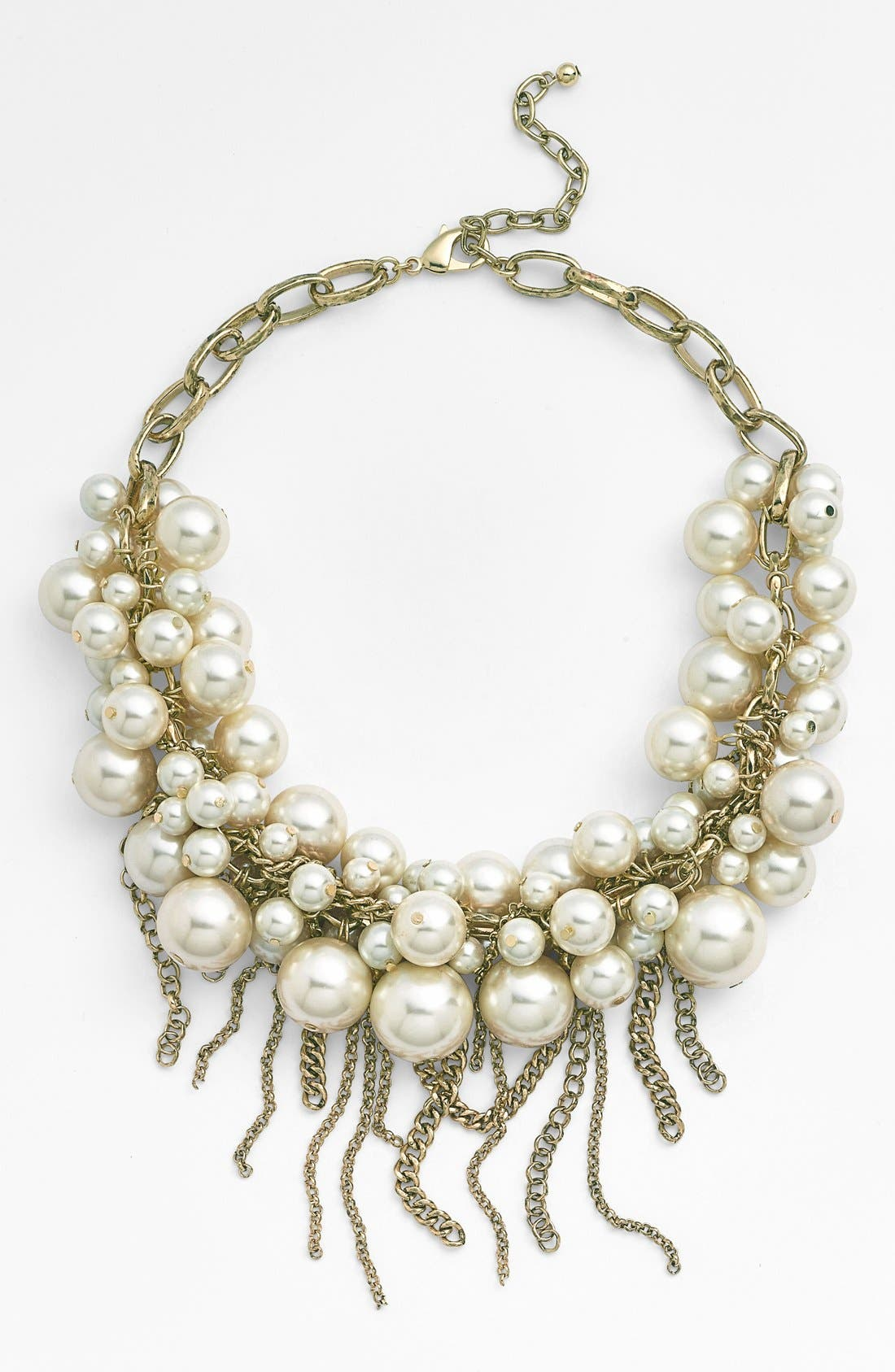 Fringed Faux Pearl Statement Necklace,                             Main thumbnail 1, color,                             130