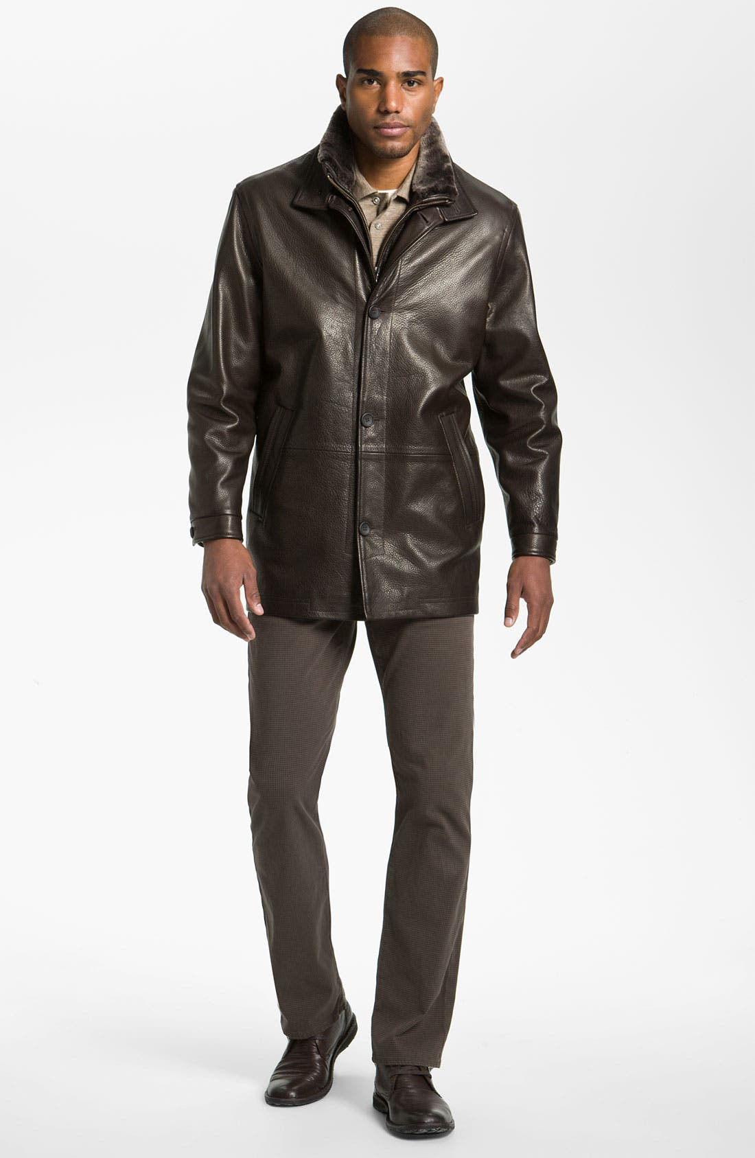 REMY LEATHER,                             Calfskin Leather Jacket,                             Alternate thumbnail 3, color,                             205