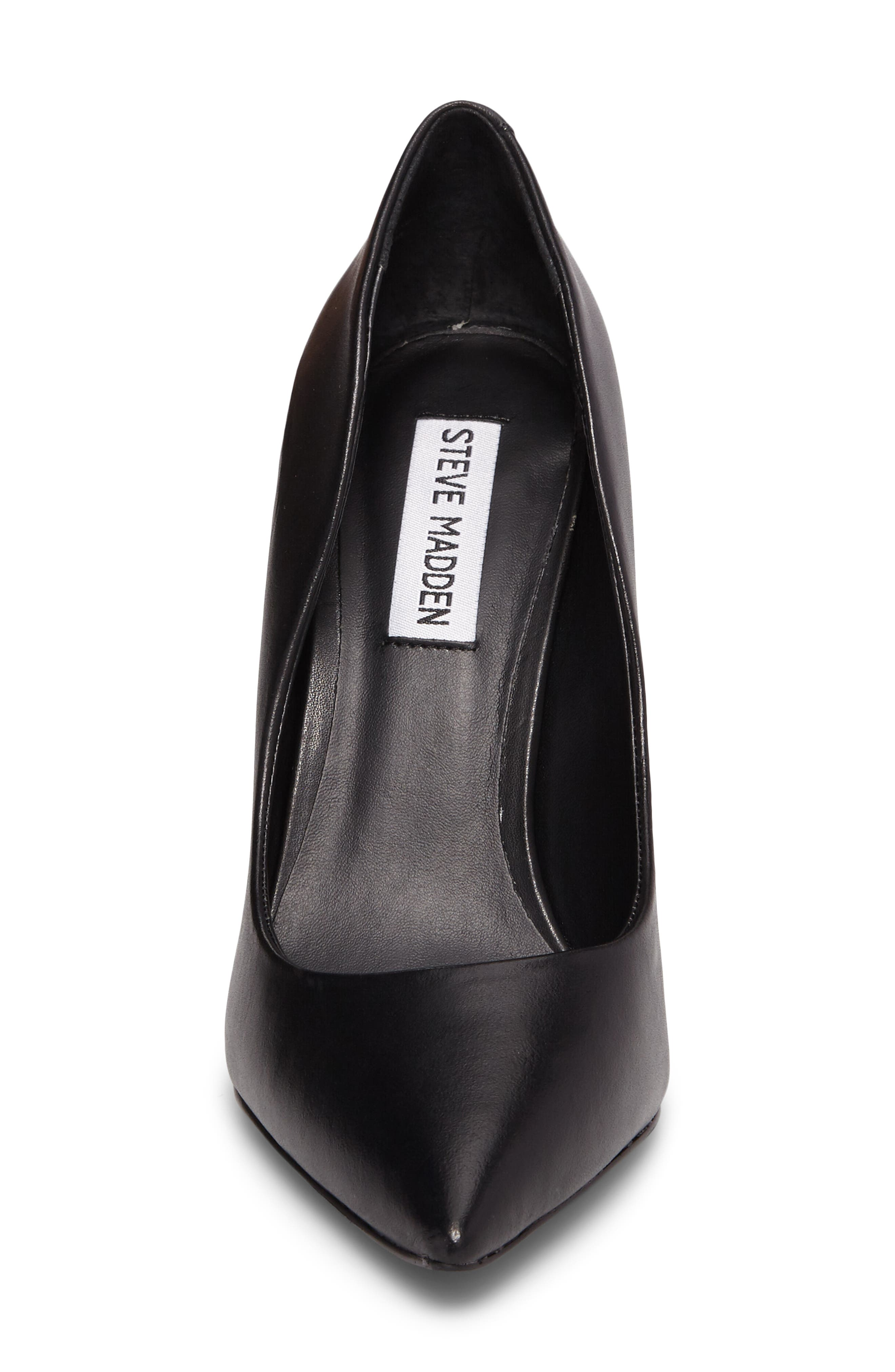 Daisie Pointy-Toe Pump,                             Alternate thumbnail 4, color,                             BLACK LEATHER