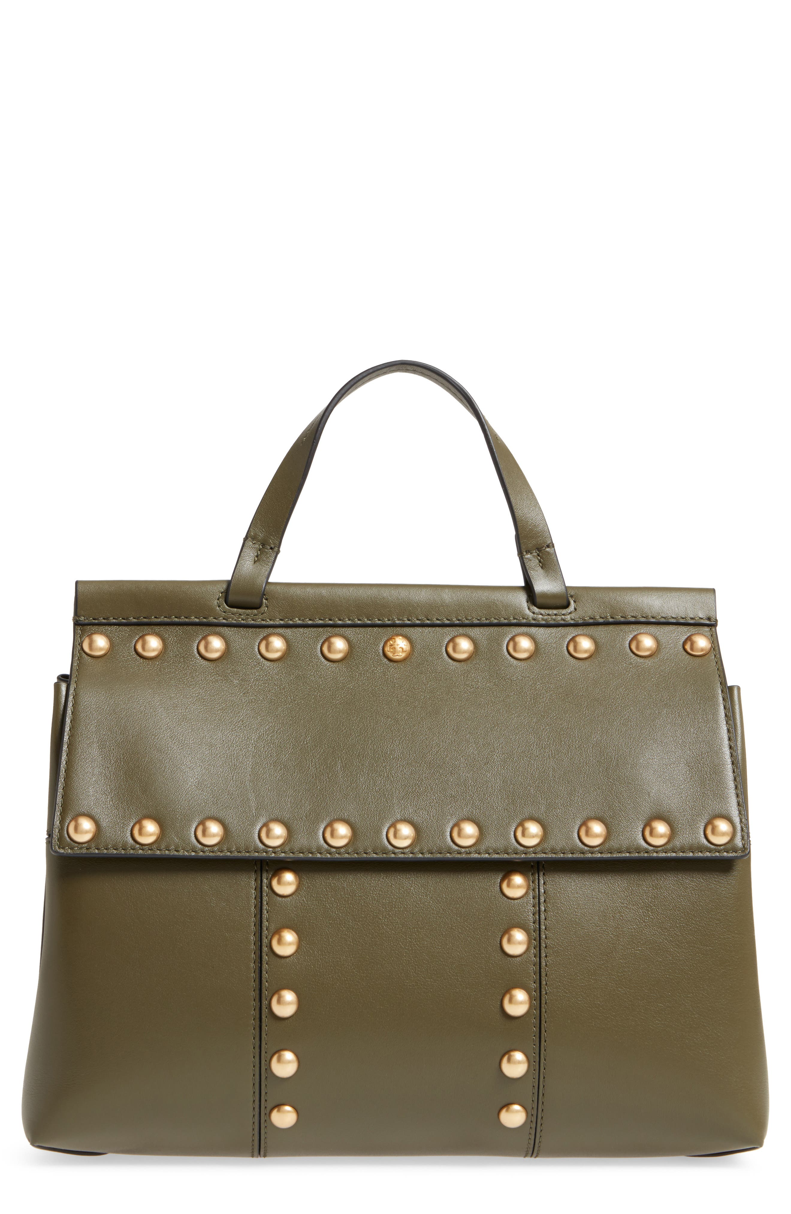 Block-T Studded Leather Top Handle Satchel,                         Main,                         color, 300