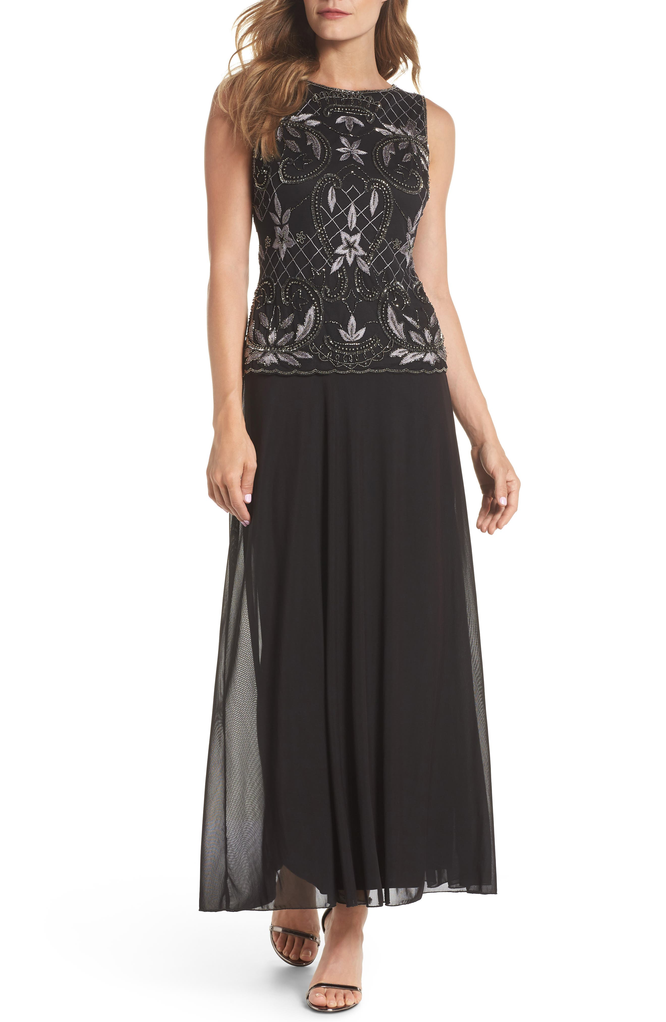 Embellished Mock Two-Piece Gown,                             Main thumbnail 1, color,                             008