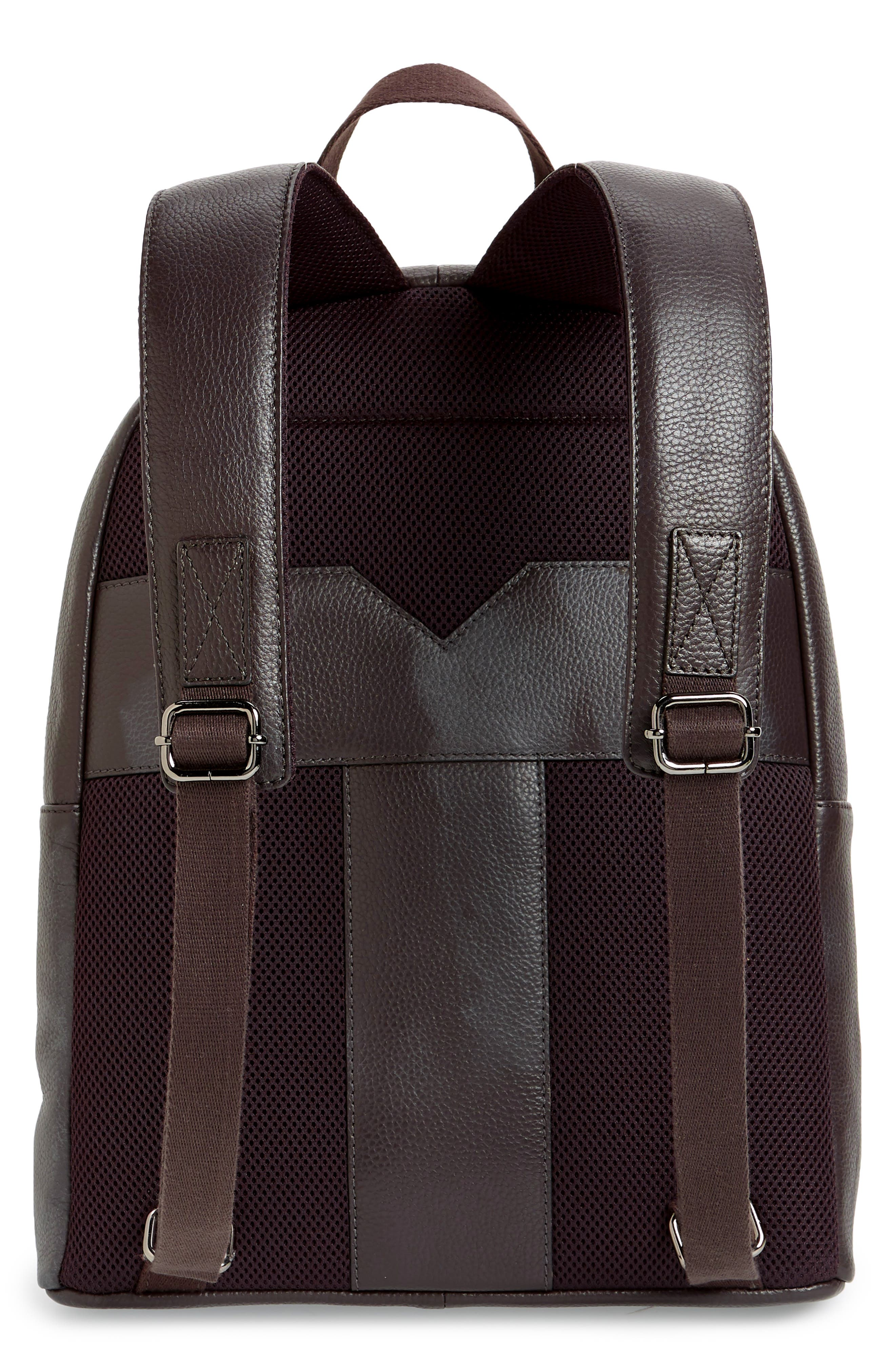 Leather Backpack,                             Alternate thumbnail 3, color,                             CHOCOLATE