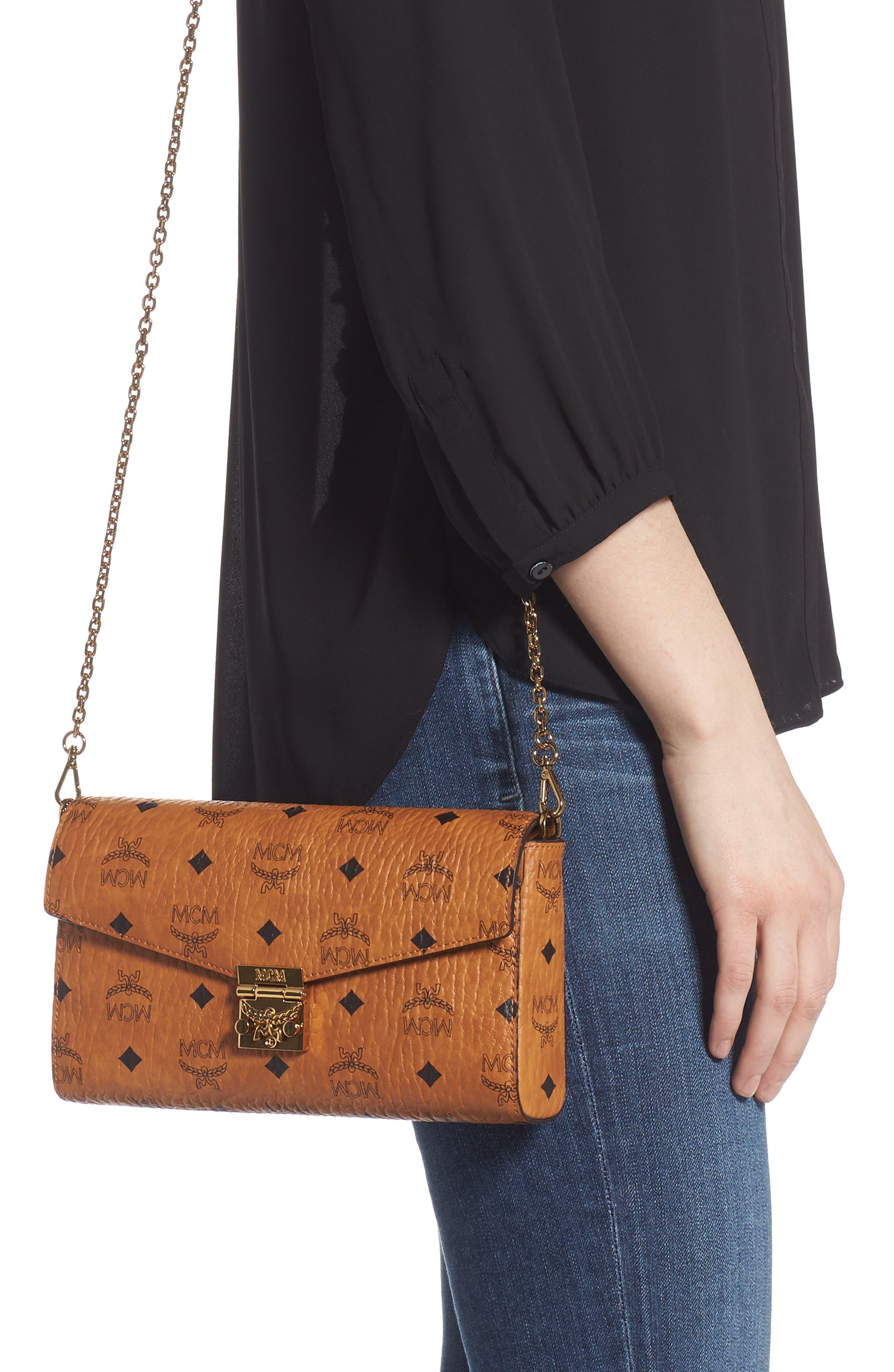 Millie Monogrammed Leather Crossbody Bag,                             Alternate thumbnail 2, color,                             COGNAC BROWN