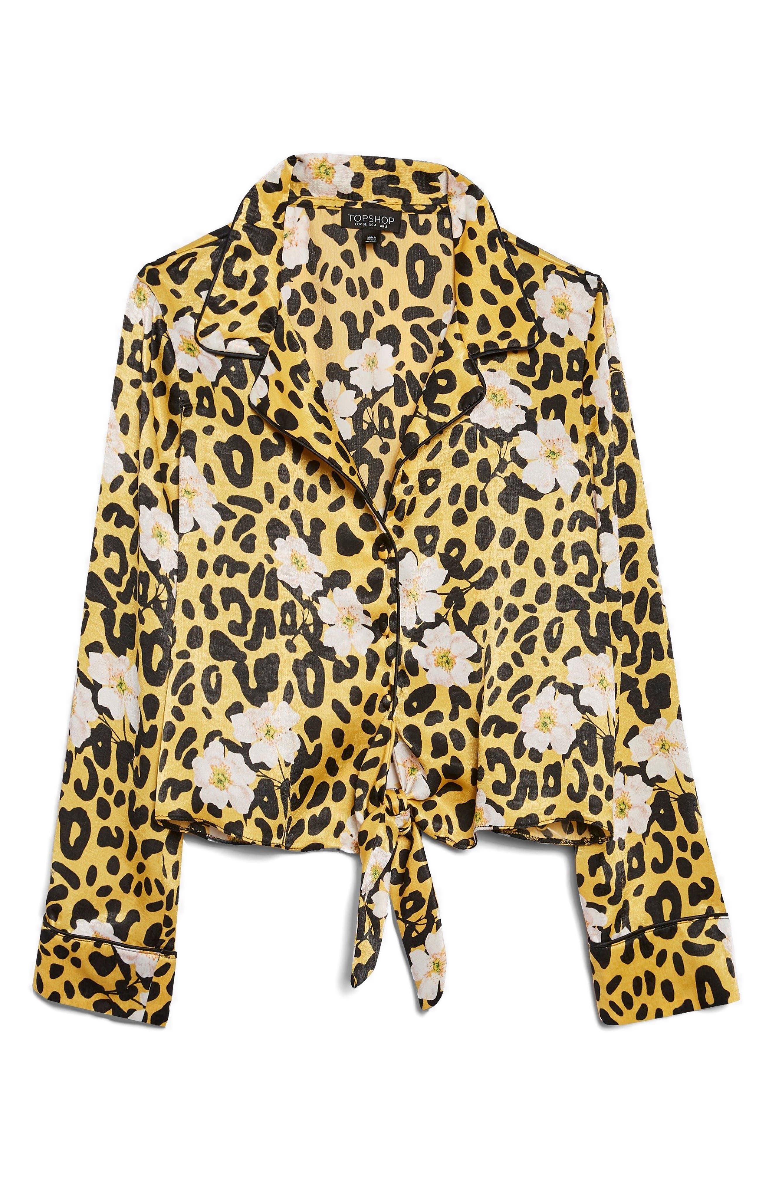 Animal Floral Print Pajama Shirt,                             Alternate thumbnail 3, color,