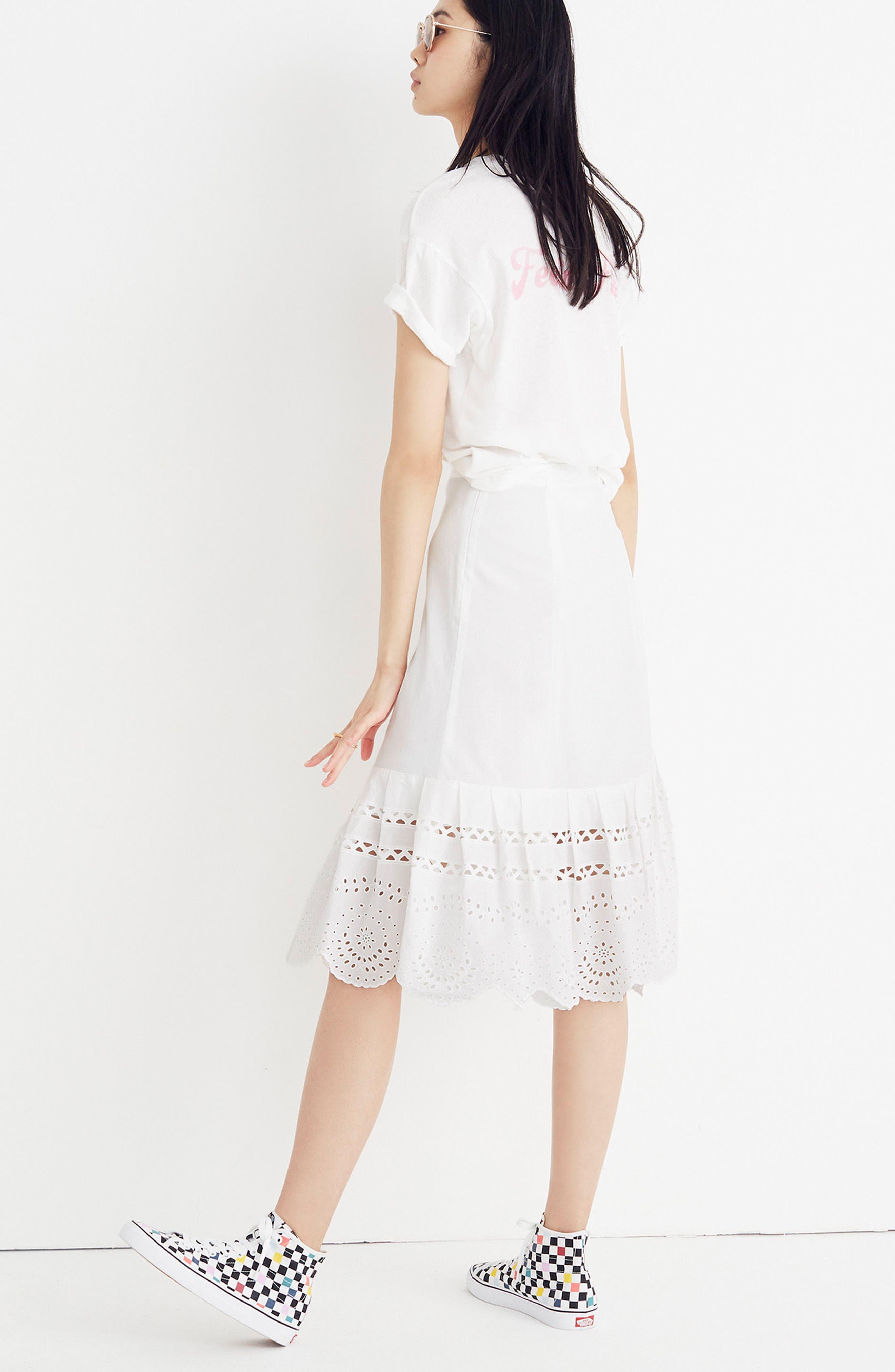 Eyelet Midi Skirt,                             Alternate thumbnail 3, color,                             100