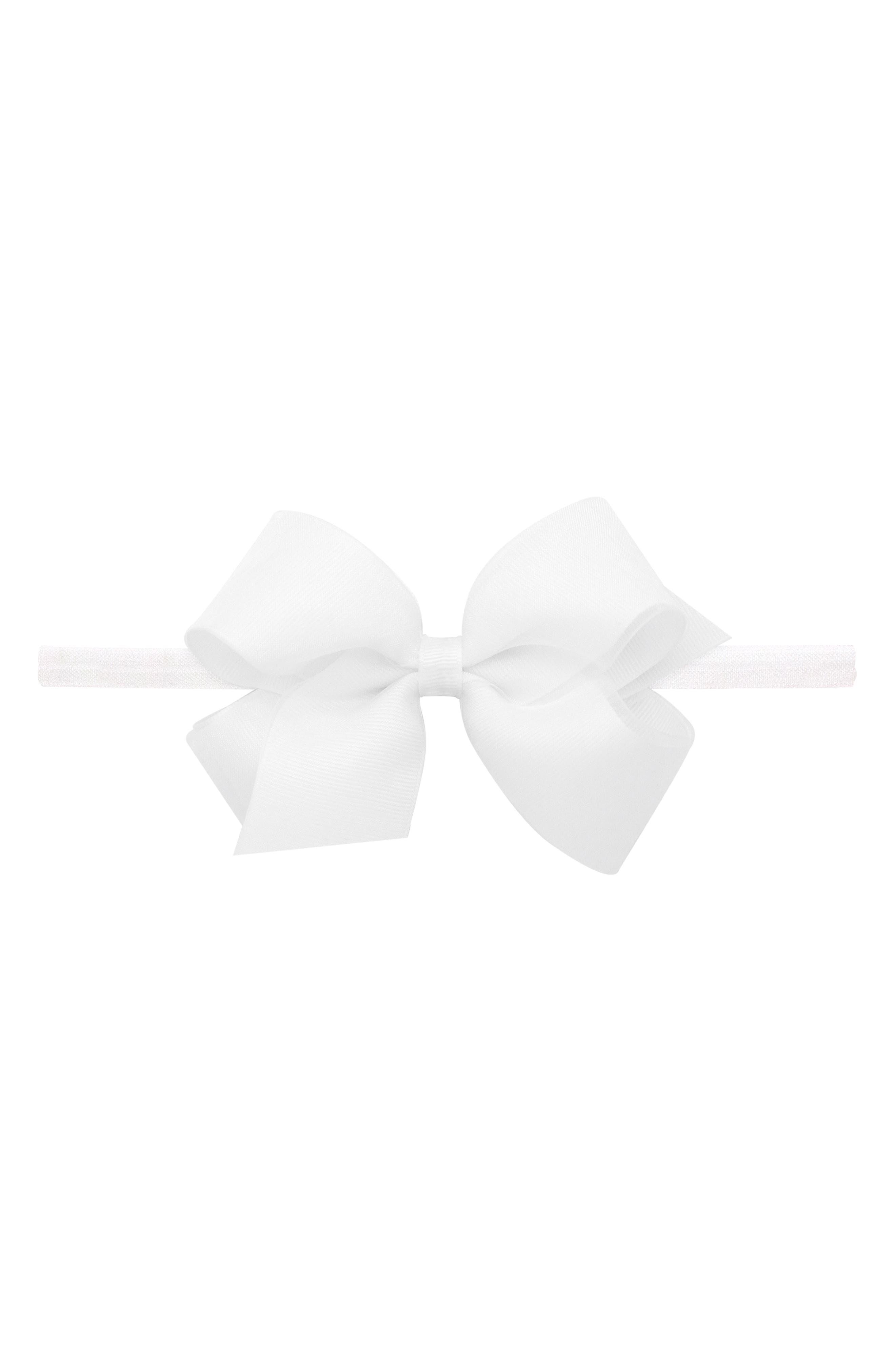 Elastic Organza Bow Headband,                             Alternate thumbnail 2, color,                             WHITE