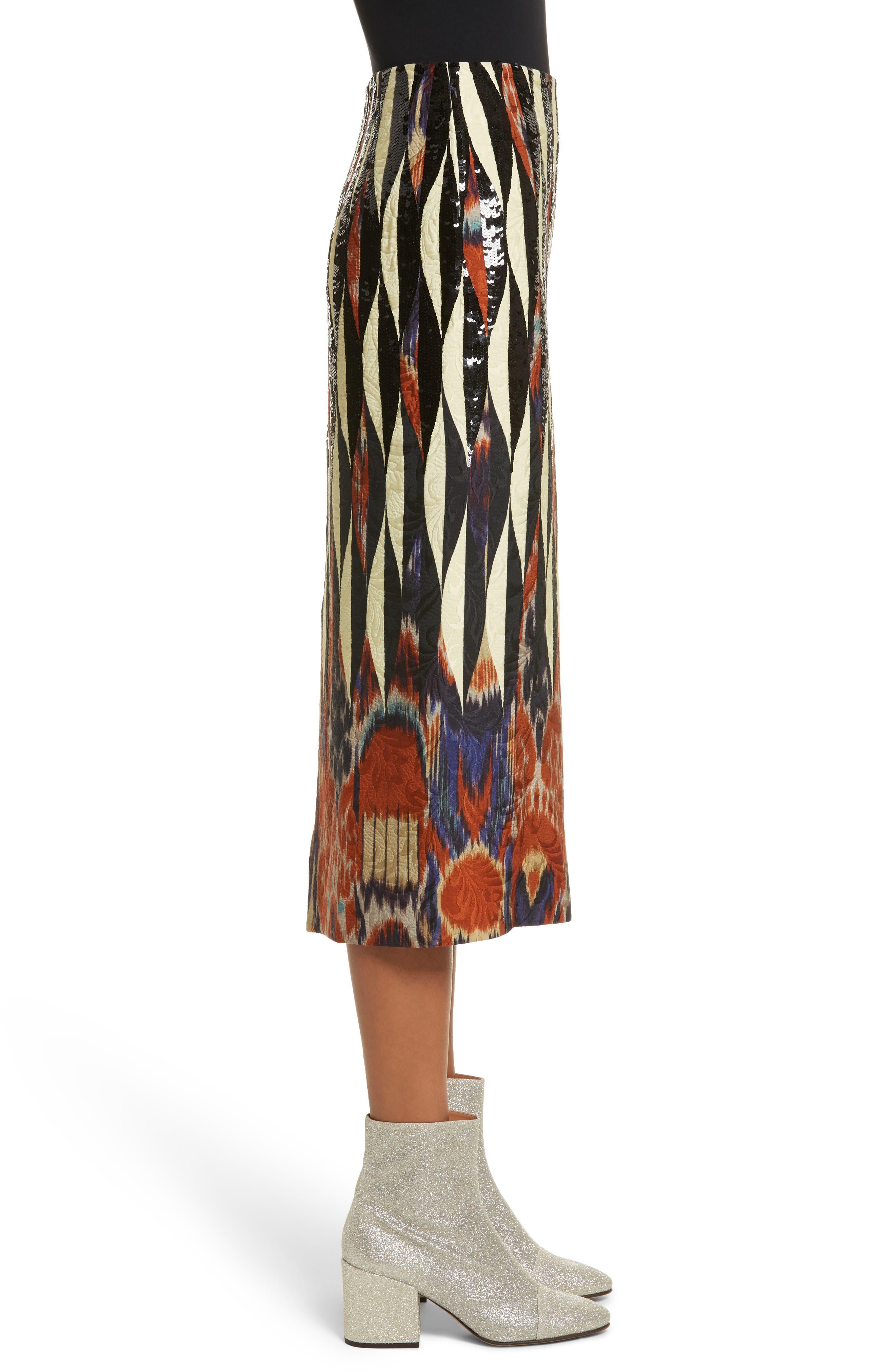 Embroidered Ikat Midi Skirt,                             Alternate thumbnail 3, color,                             800