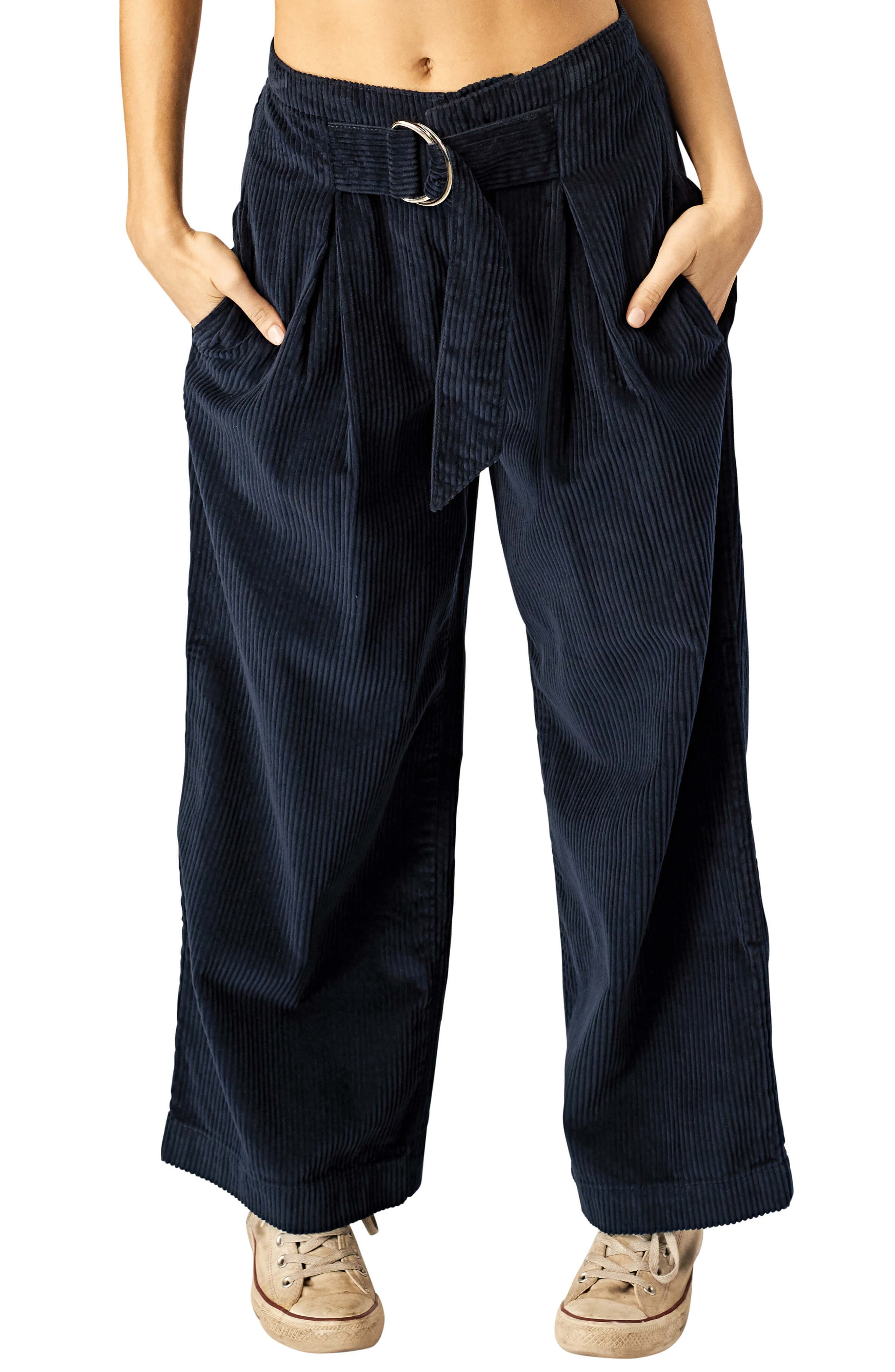 STONE ROW Cut the Cord Corduroy Ankle Wide Leg Pants, Main, color, SEA NAVY