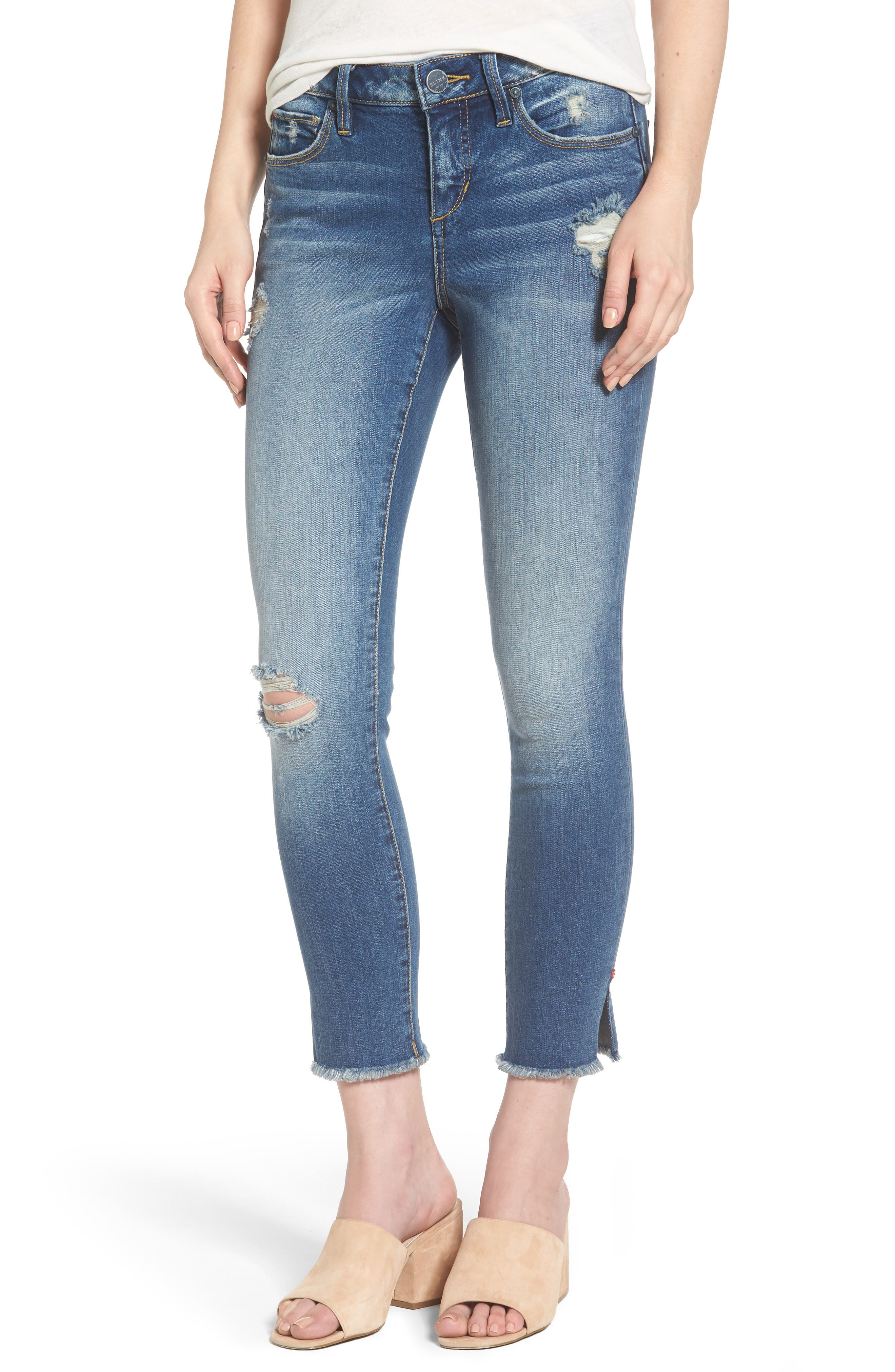 Frayed Hem Ripped Ankle Jeans,                             Main thumbnail 1, color,                             CARALYN