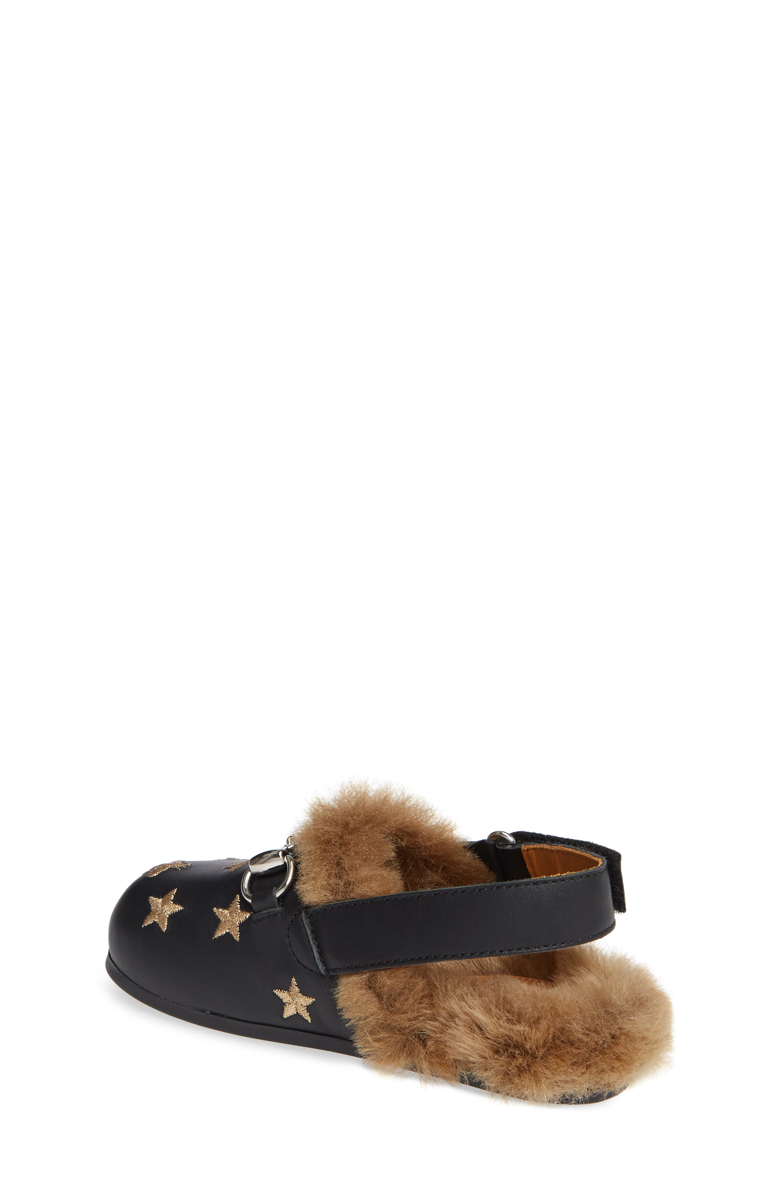Horsebit Embroidered Sandal,                             Alternate thumbnail 2, color,                             BLACK/GOLD STARS