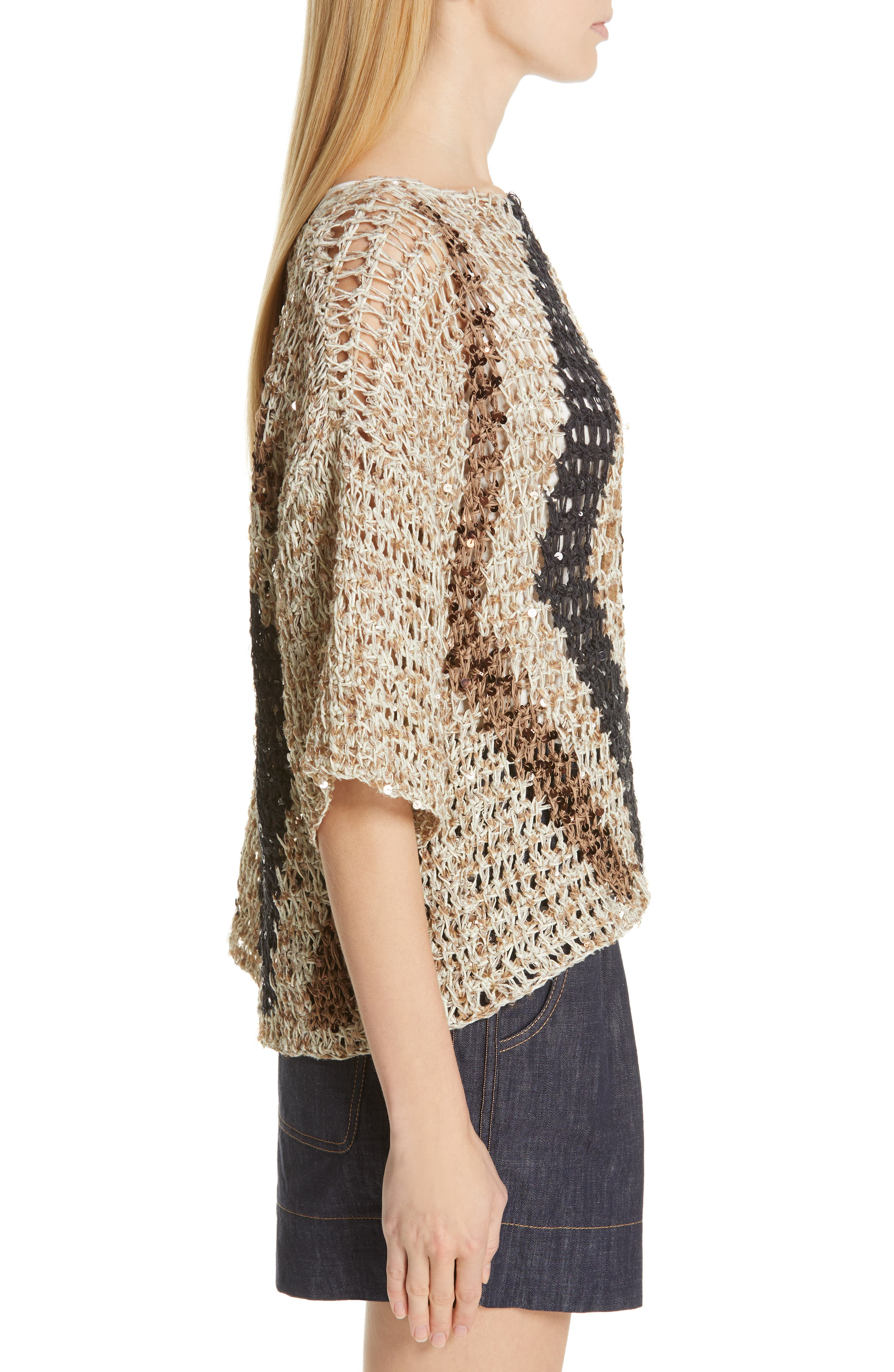 Sequin Open Knit Sweater,                             Alternate thumbnail 3, color,                             SUMMER BEIGE