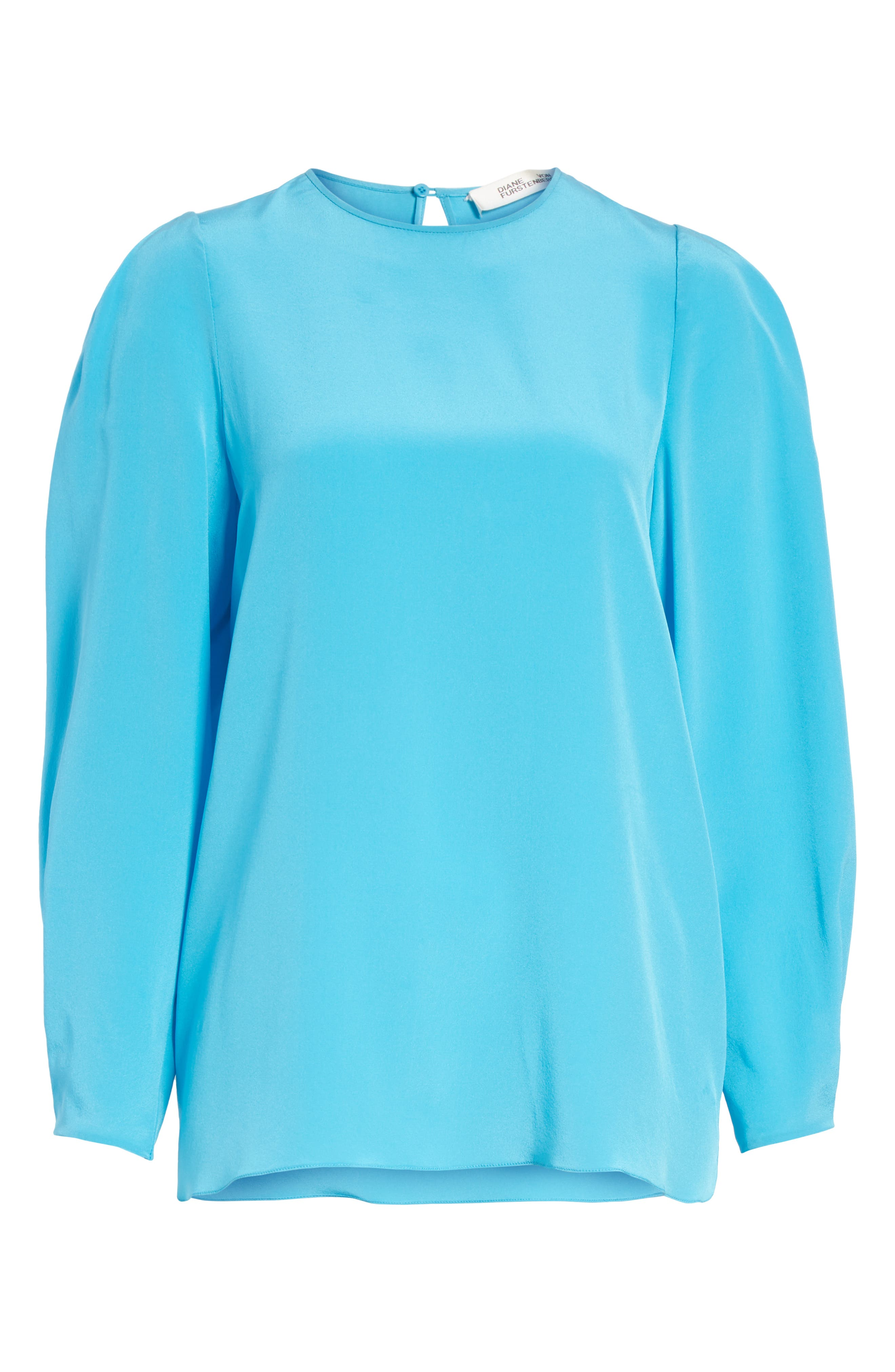 Cinched Sleeve Silk Blouse,                             Alternate thumbnail 6, color,