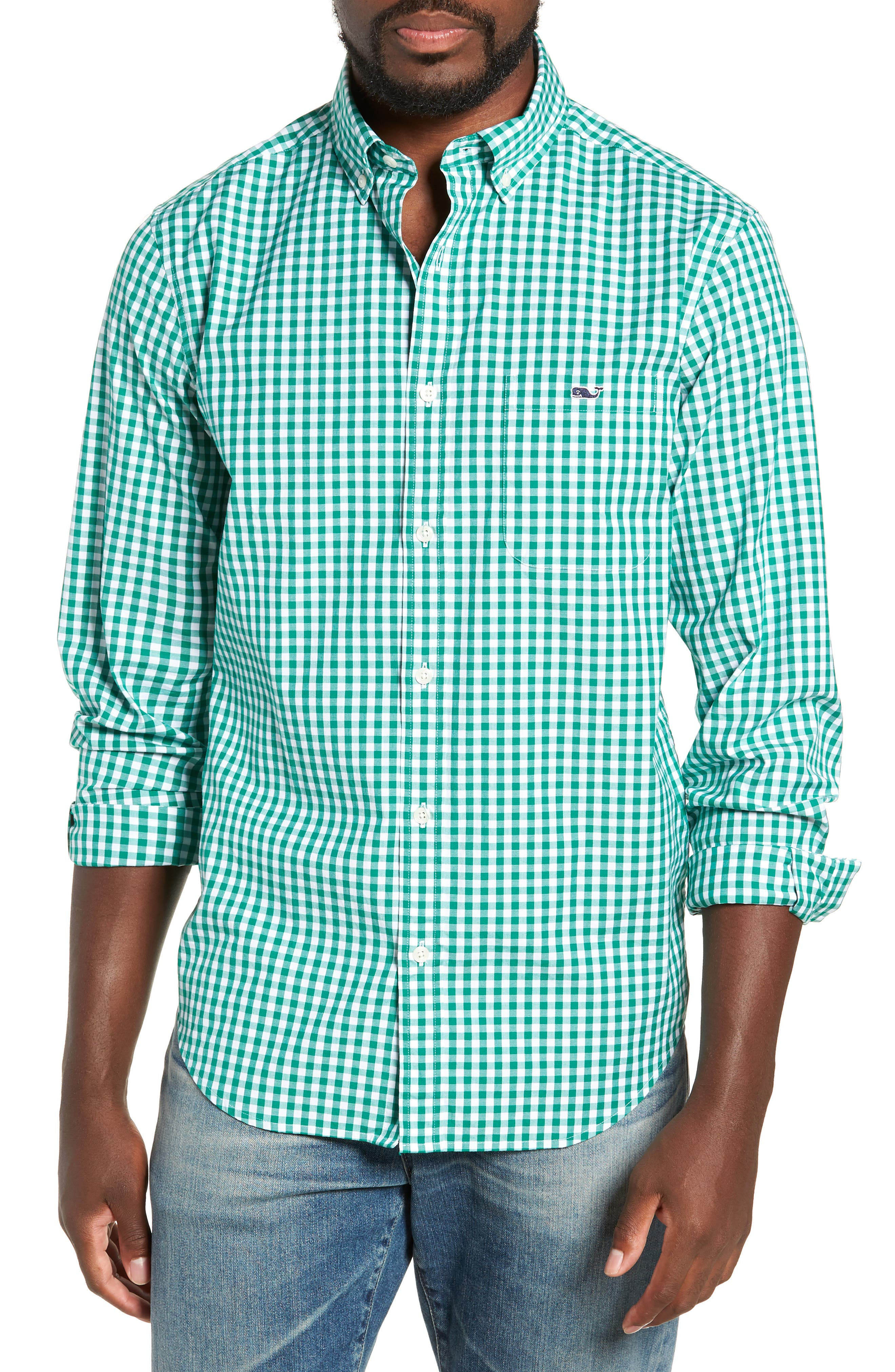 Carleton Classic Fit Gingham Sport Shirt,                         Main,                         color, GREEN MEADOW
