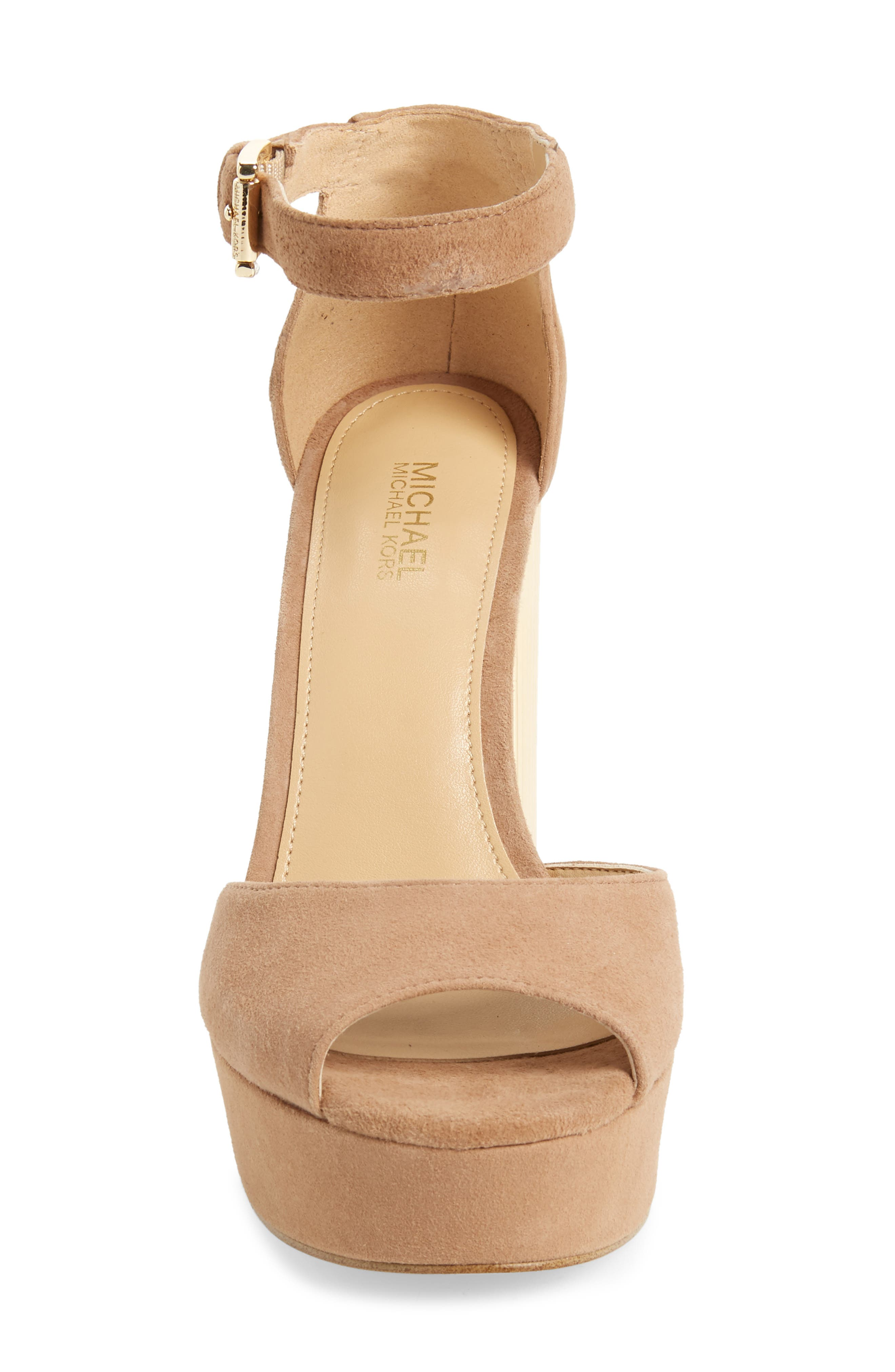 Paloma Metallic Heel Platform Sandal,                             Alternate thumbnail 4, color,                             DARK KHAKI