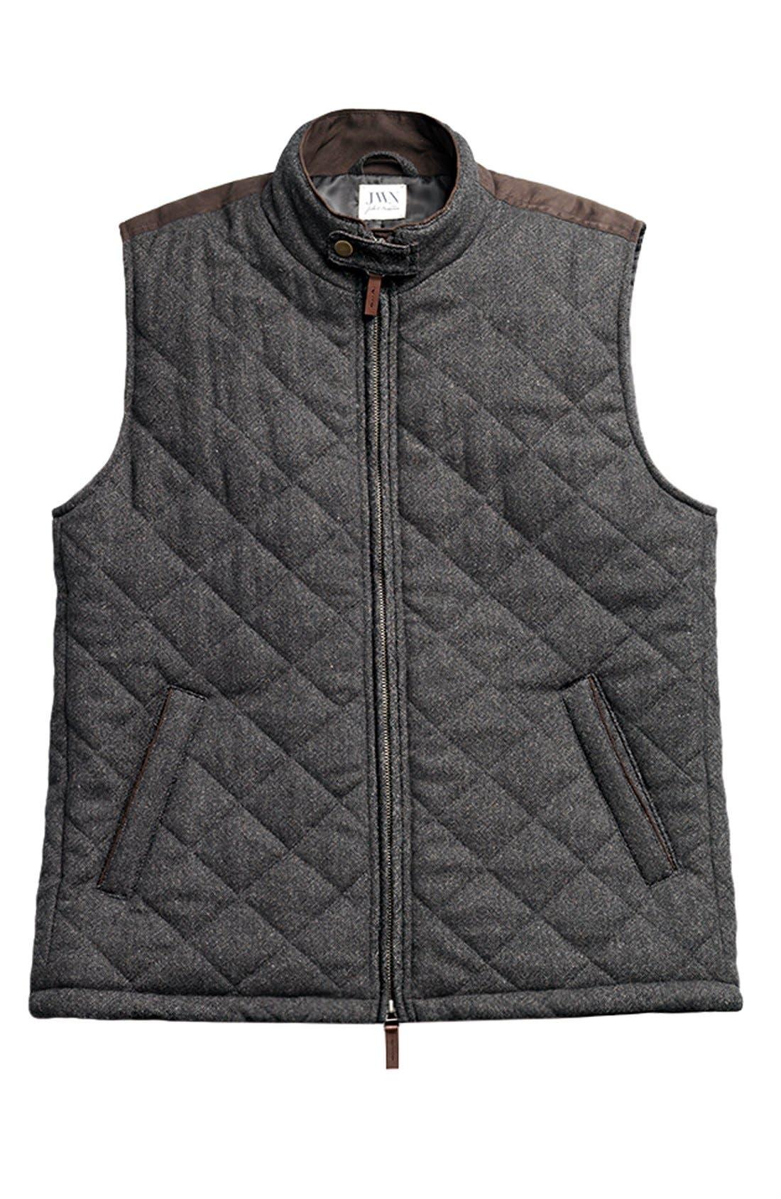 John W. Nordstrom Regular Fit Quilted Tweed Vest,                         Main,                         color, 001