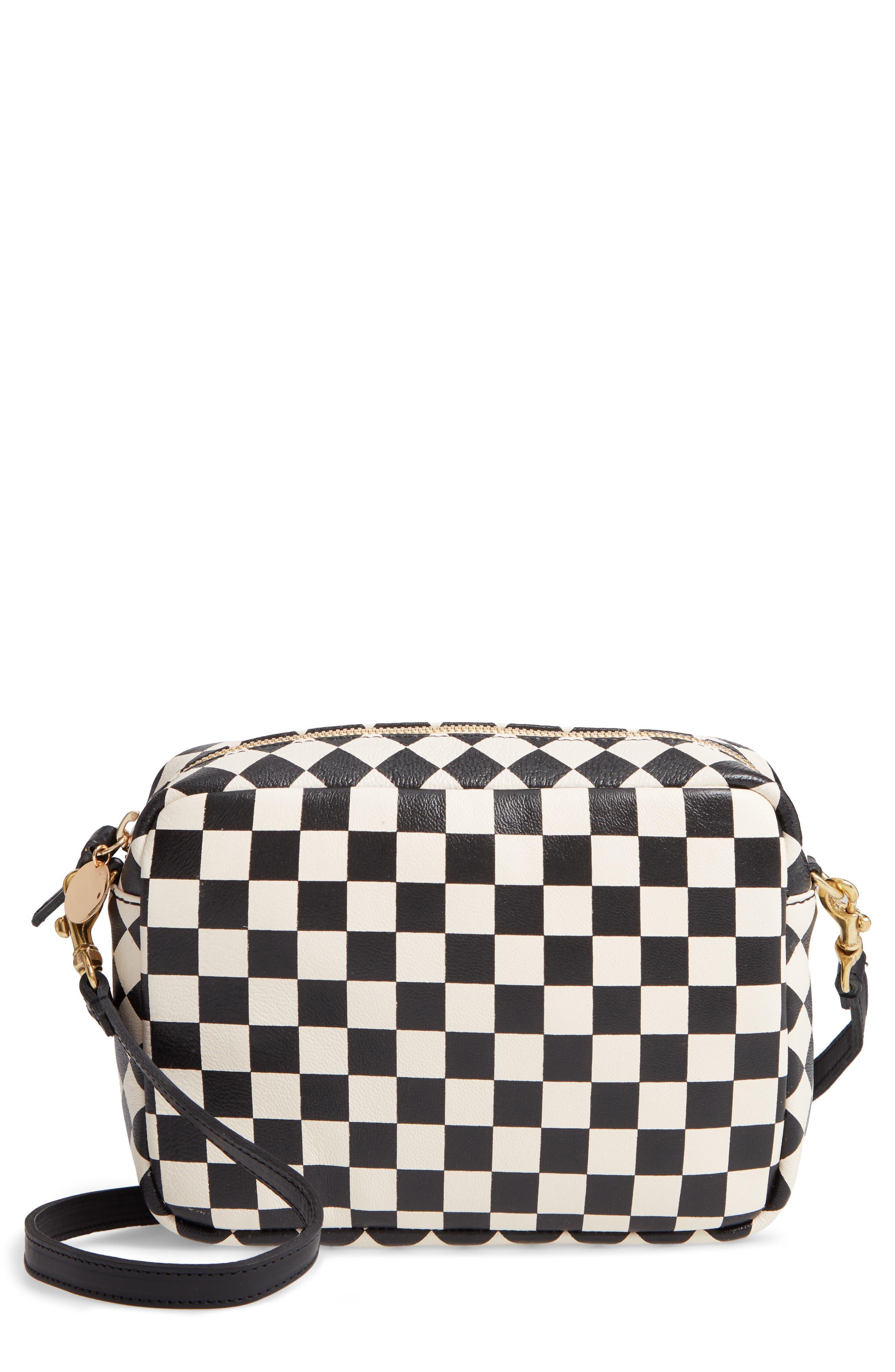 Midi Sac Check Leather Shoulder Bag,                             Main thumbnail 1, color,                             CREAM/ BLACK CHECKERS