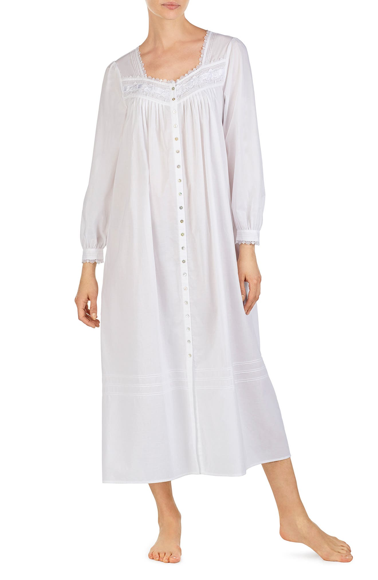 Eileen West Cotton Button Front Nightgown, White