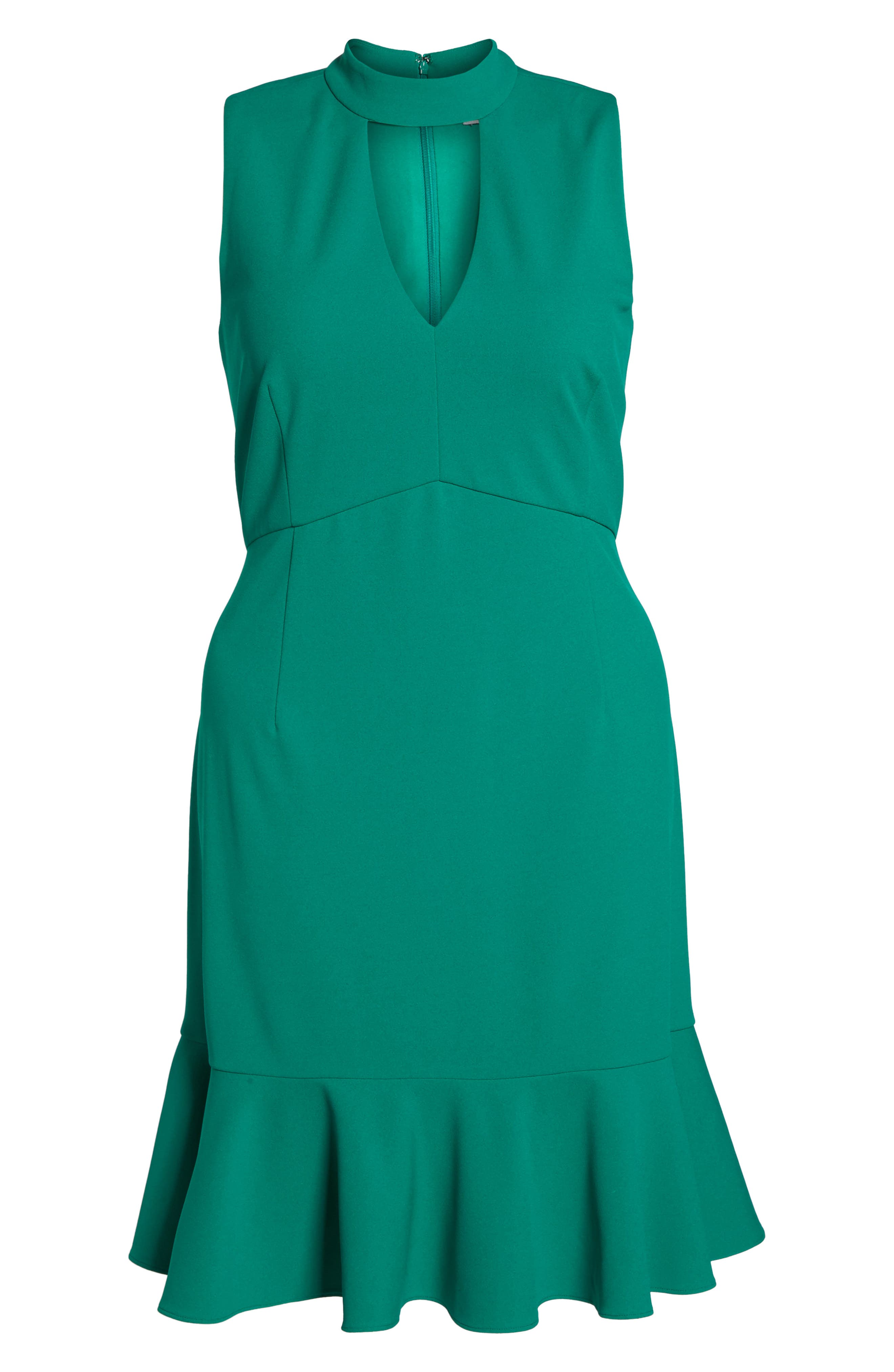 Choker Fit & Flare Dress,                             Alternate thumbnail 6, color,                             310