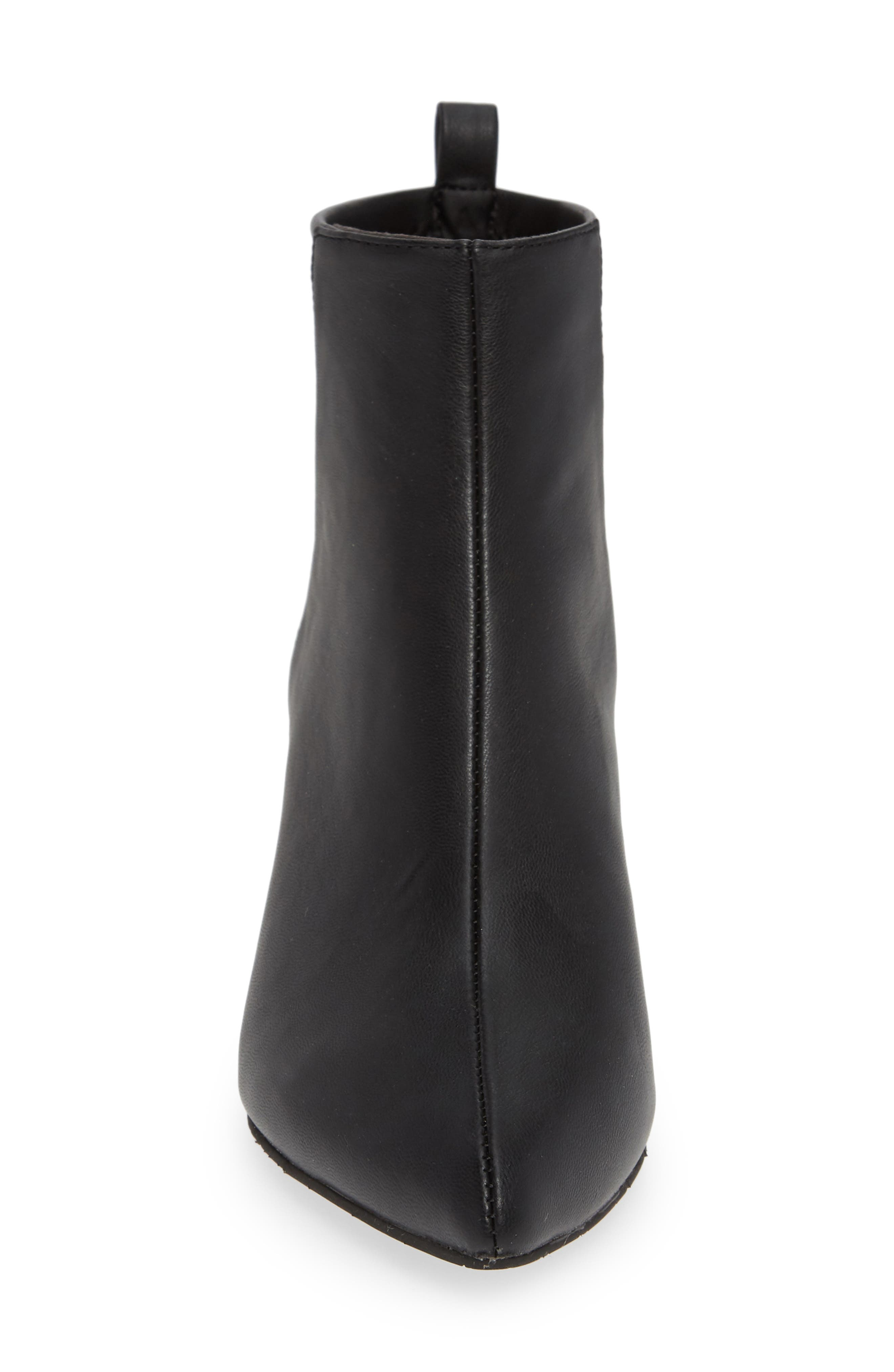 Millimeter Pointy Toe Bootie,                             Alternate thumbnail 4, color,                             BLACK STRETCH