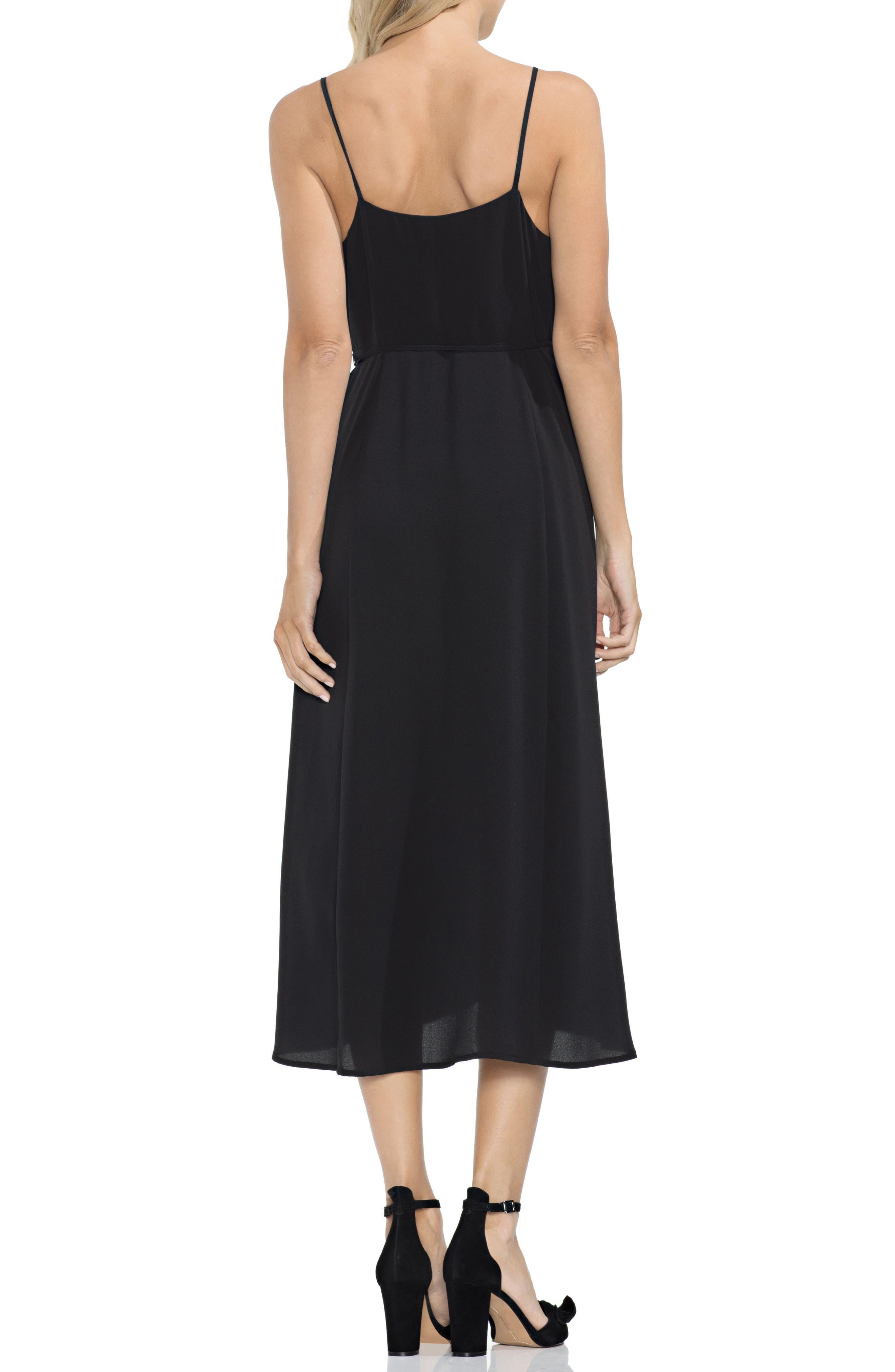 VINCE CAMUTO,                             Soft Texture Faux Wrap Midi Dress,                             Alternate thumbnail 2, color,                             001