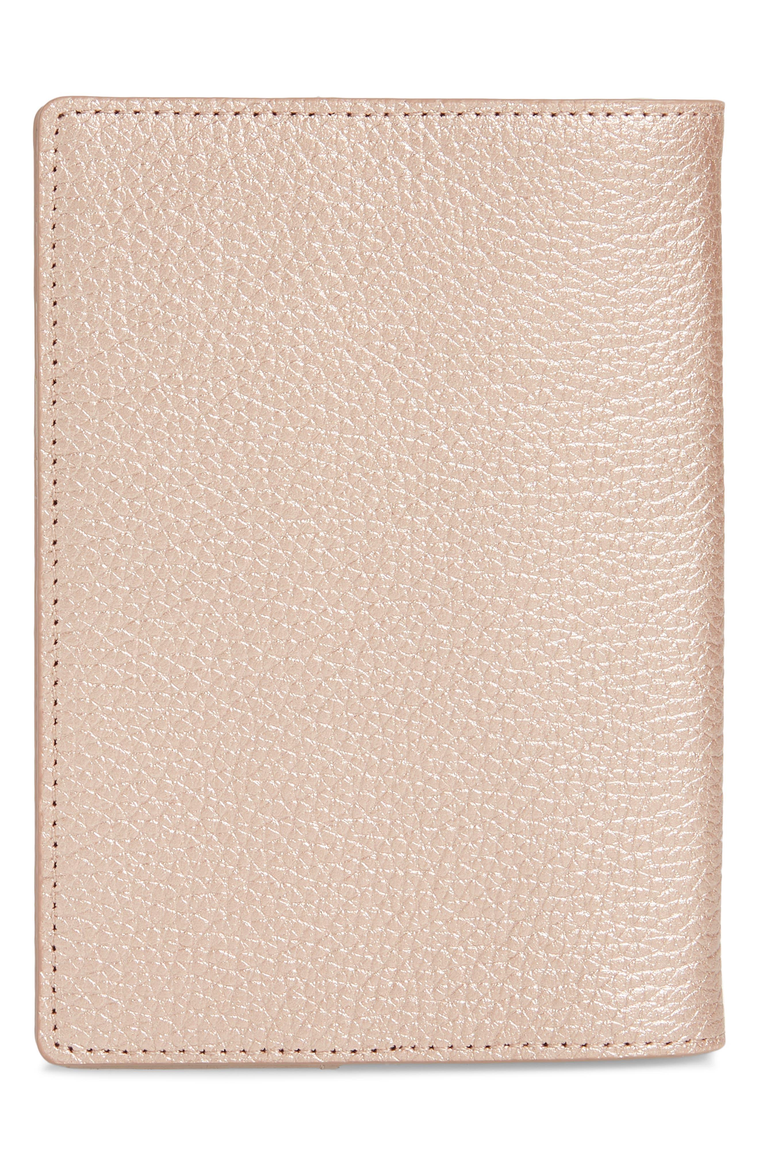 Leather Passport Case,                             Alternate thumbnail 4, color,                             ROSE GOLD