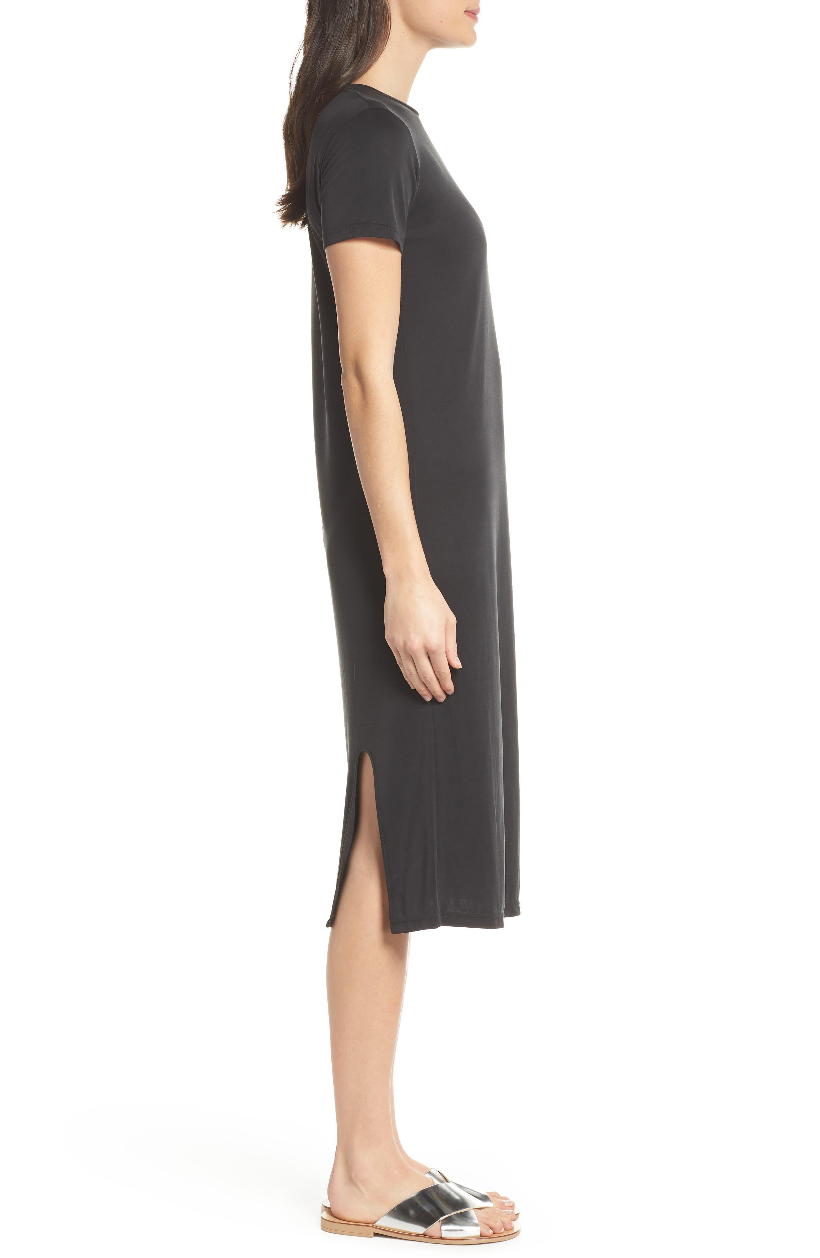 Jersey Midi Dress,                             Alternate thumbnail 3, color,                             001